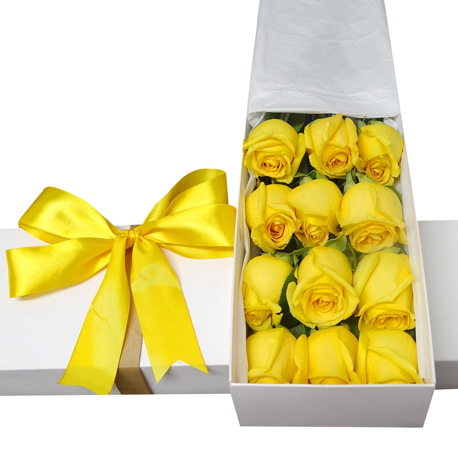 Caja con 12 bellas Rosas color Amarillo