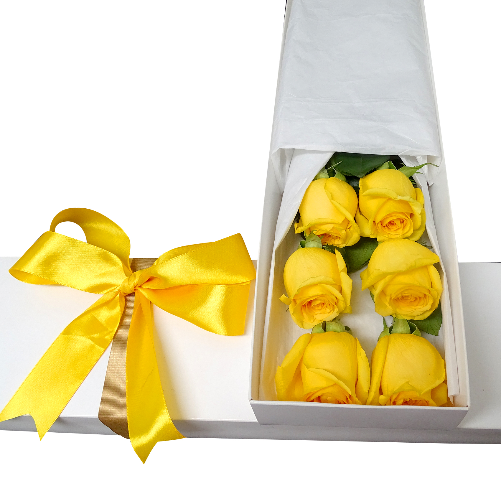 Caja con 6 bellas Rosas de color Amarillo