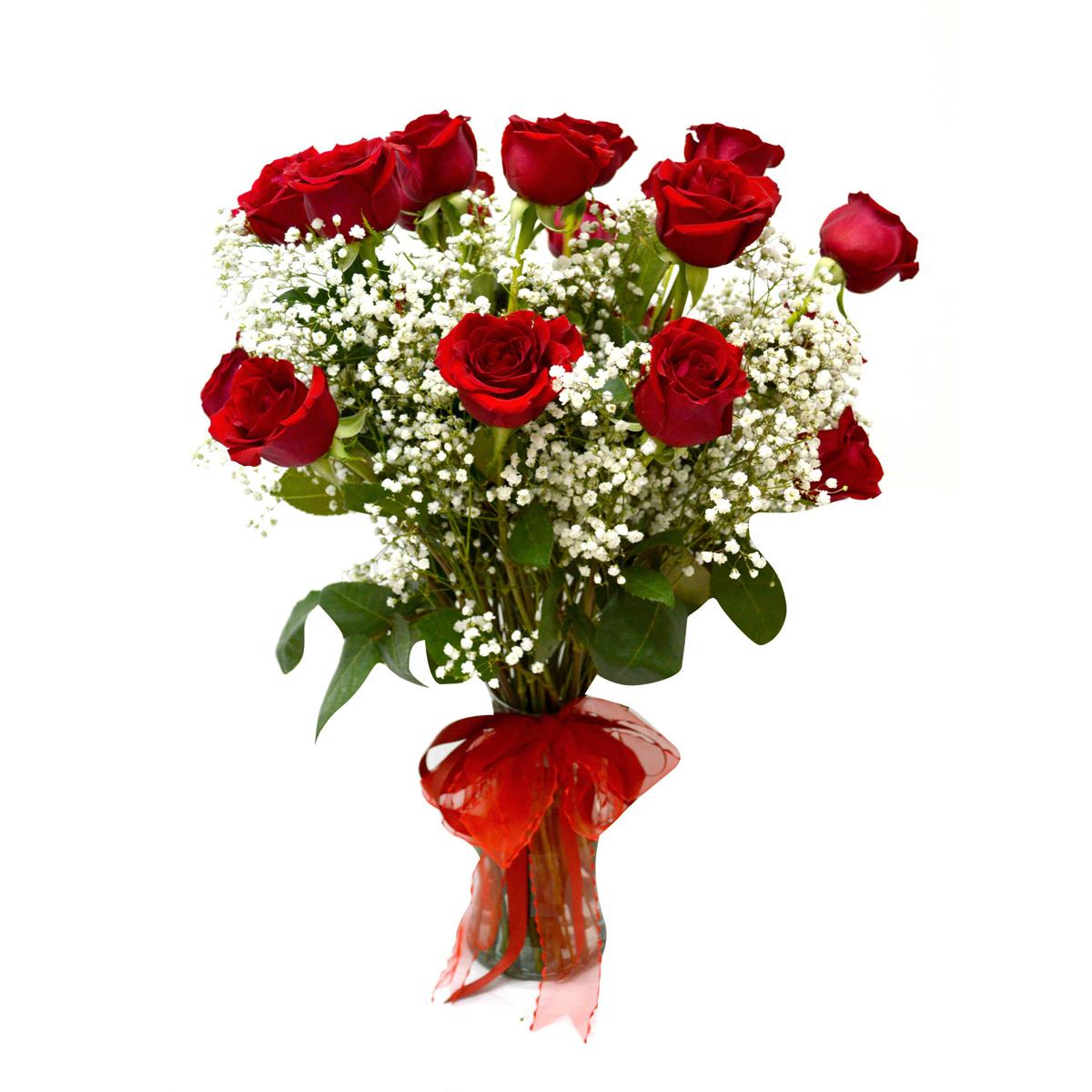Florero con 12 Rosas mas Gyspophila