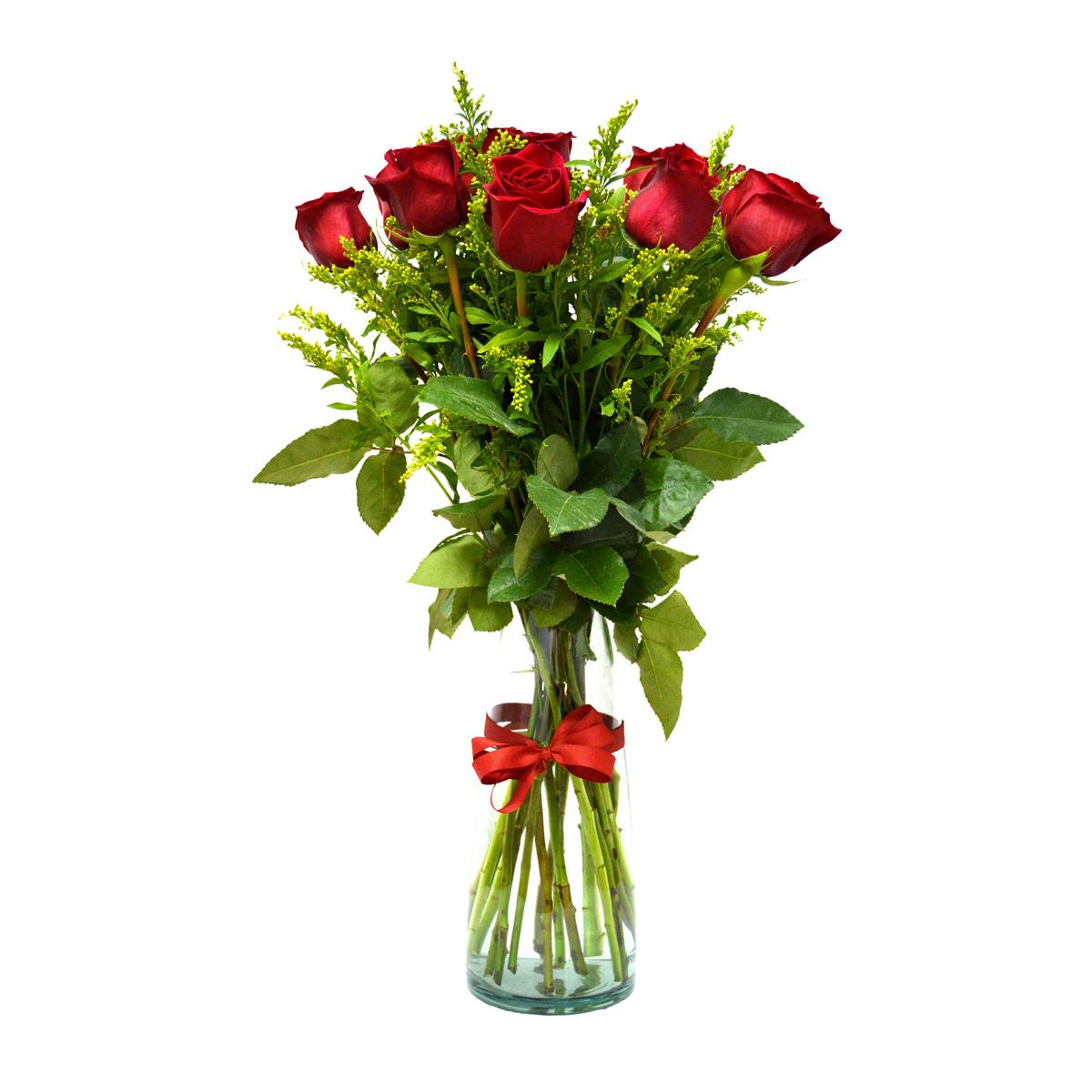 Florero con 12 Rosas Rojas mas Solidago