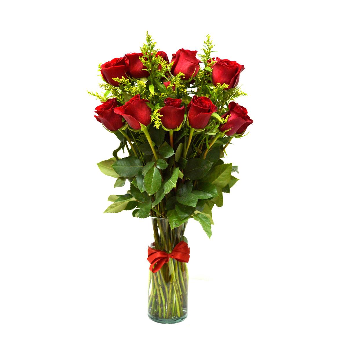 Florero con 24 Rosas Rojas mas Solidago