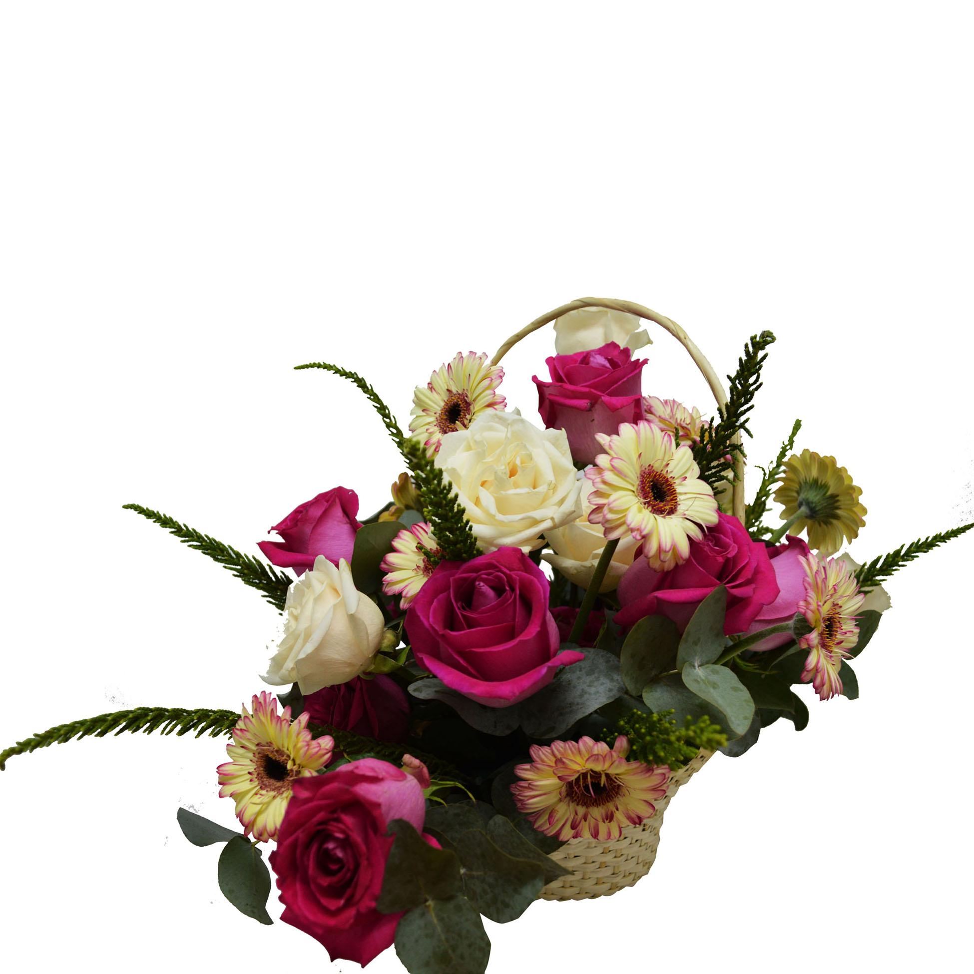 Violetera con Mini Gerberas y Rosas