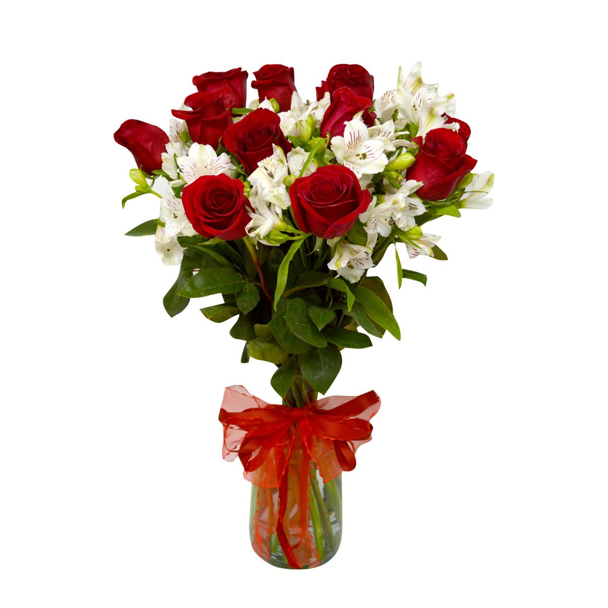 Florero con 12 Rosas mas Alstromeria
