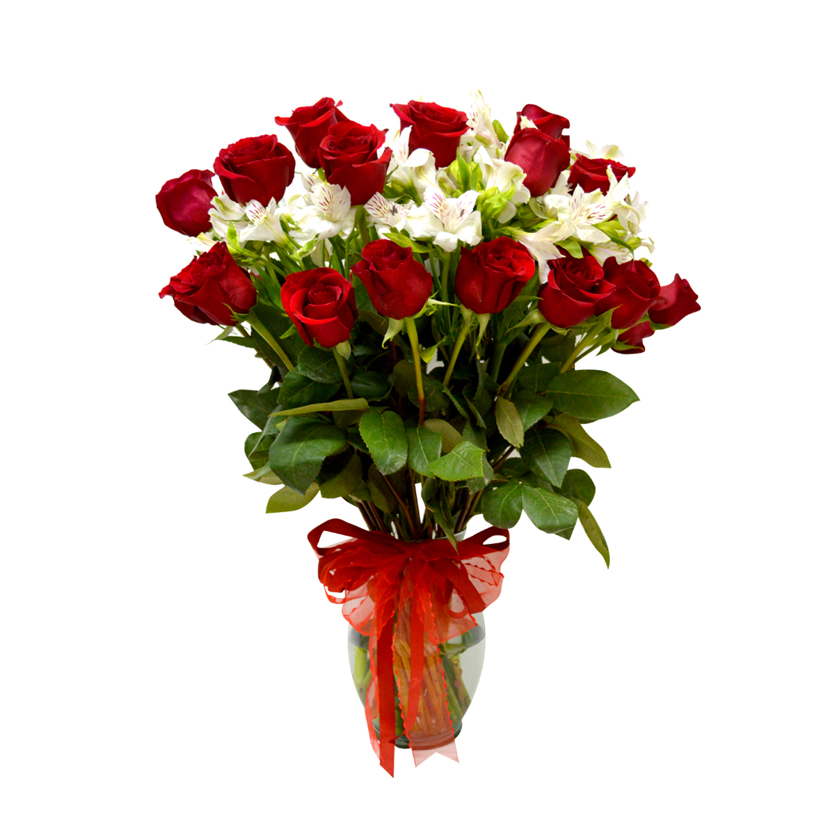 Florero con 24 Rosas mas Alstroemeria