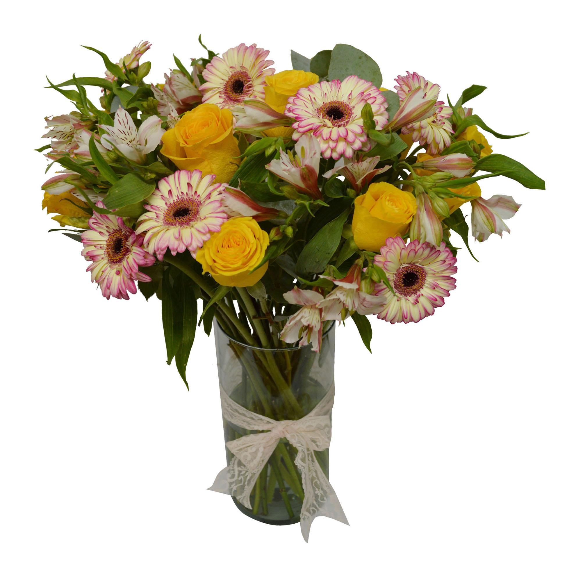 Floreros Mixto con Gerberas, Rosas y Alstromerias