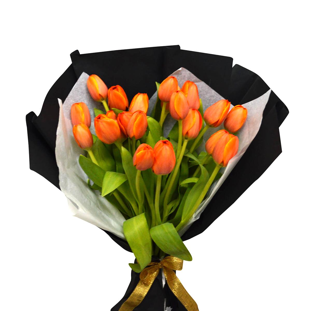 Ramo 20 Tulipanes de color Naranjo
