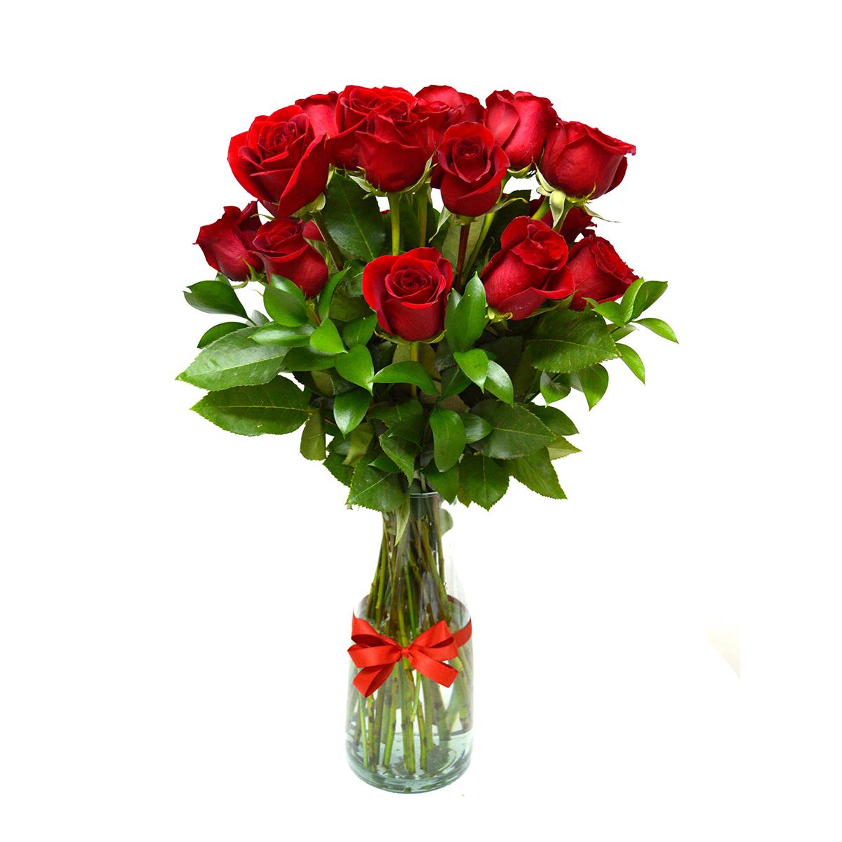 Florero con 12 Rosas Rojas mas Ruscus