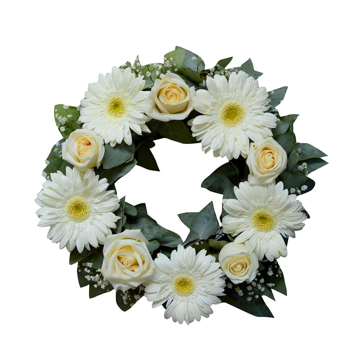 Coronas con Rosas Blancas y Gerberas