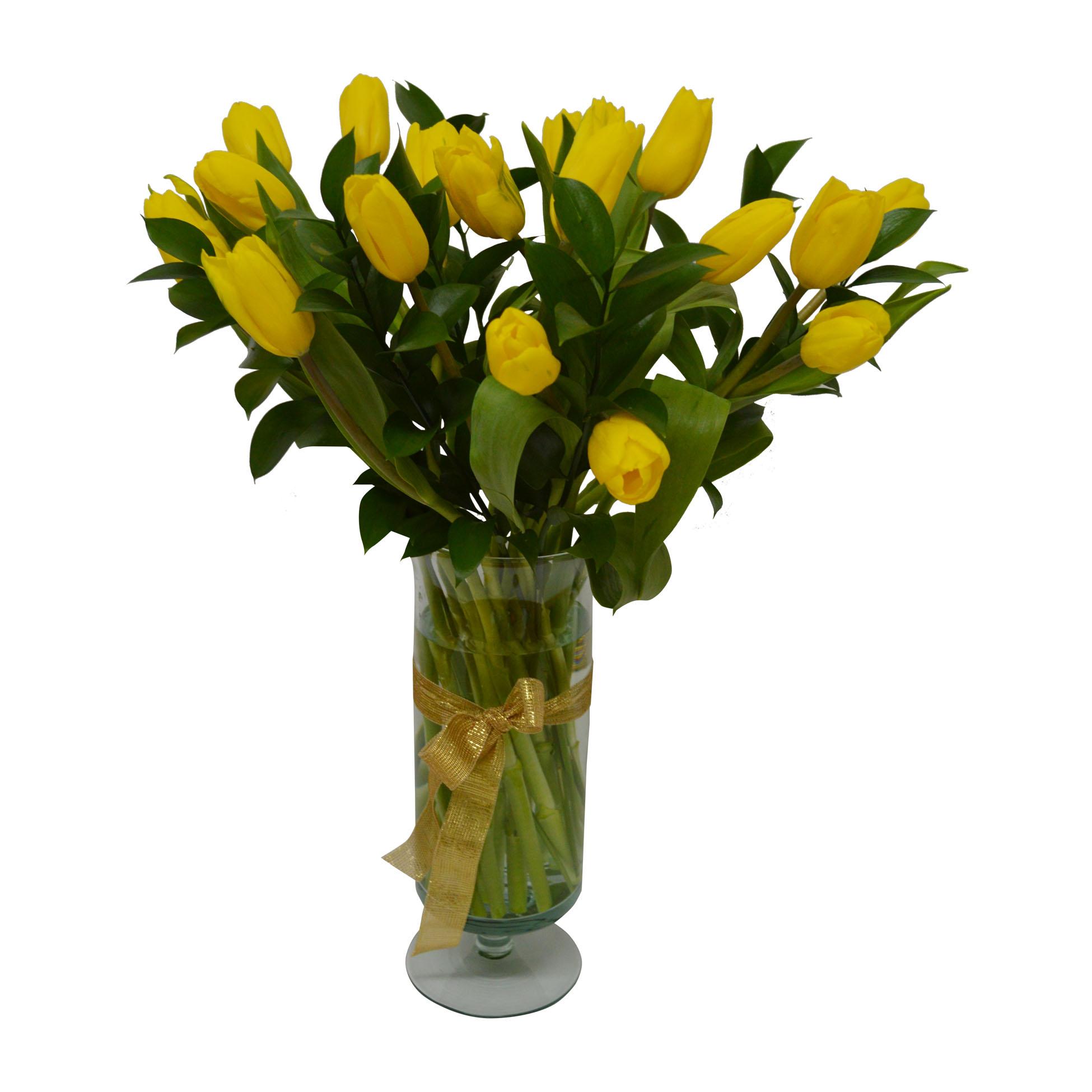 Florero con 20 Tulipanes Amarillo