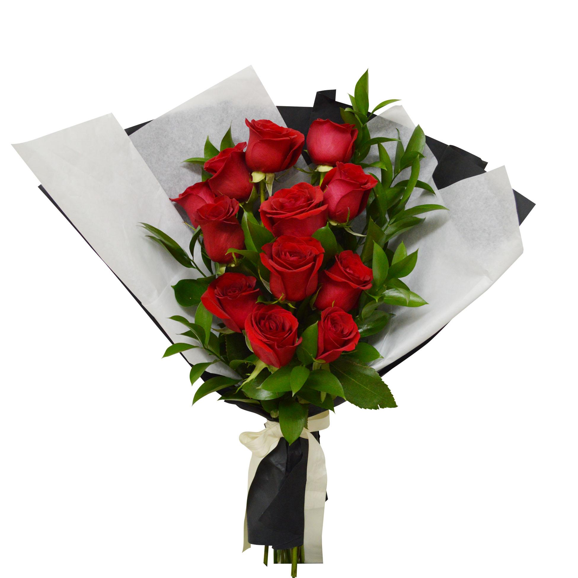Ramo de 12 Rosas de color Rojo mas Ruscus