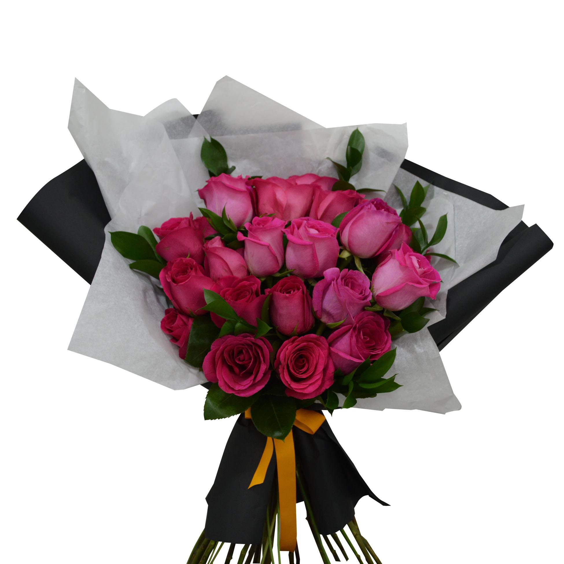 Ramo de 24 Rosas de color Fucsia