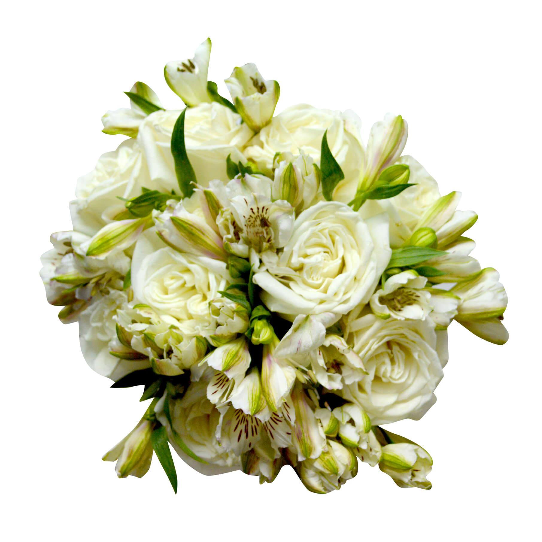 Ramo de novia con Rosas Blancas y Alstromerias