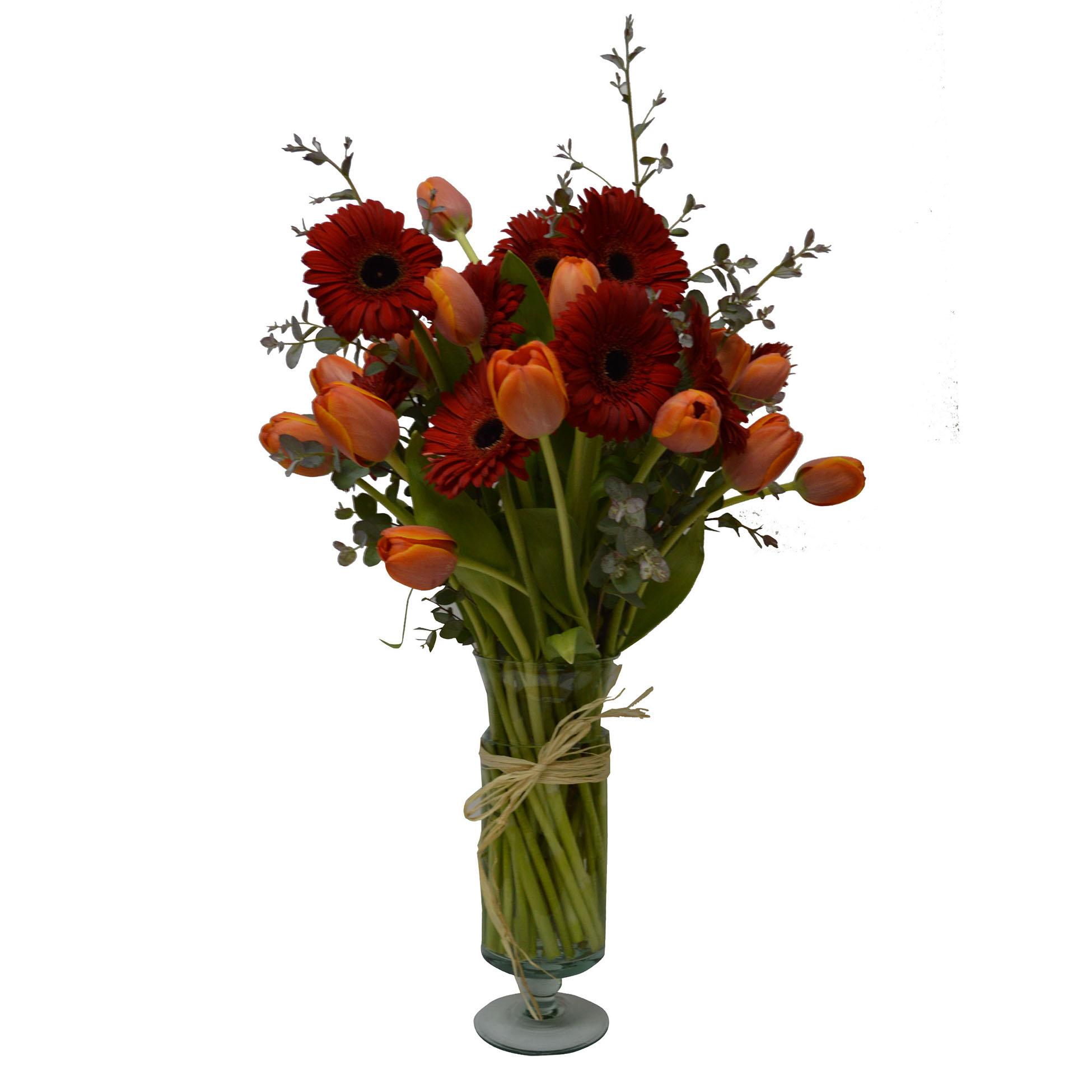 Floreros Mixto con Mini Gerbera y Tulipan