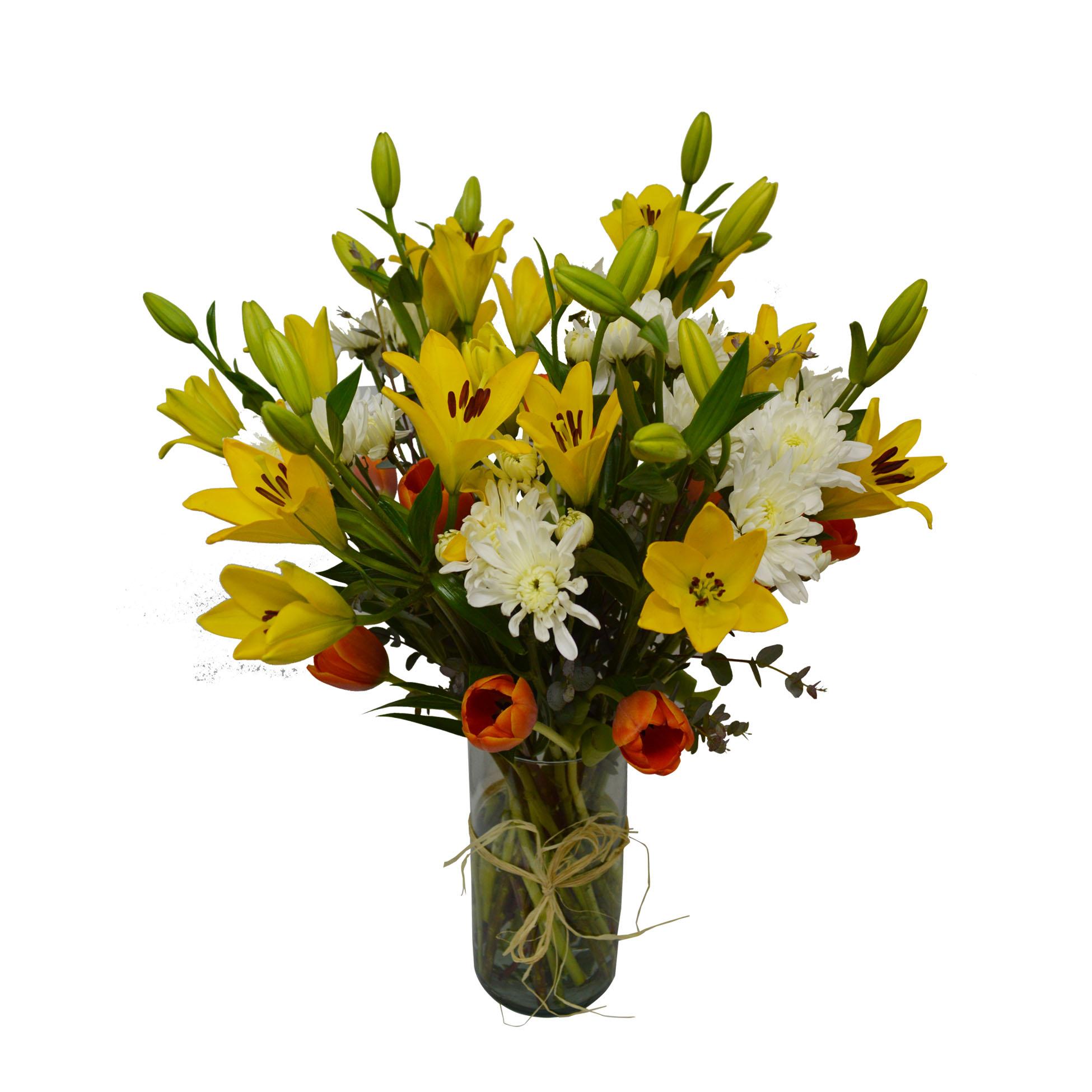 Floreros Mixto con Lilium, Tulipanes y Mable