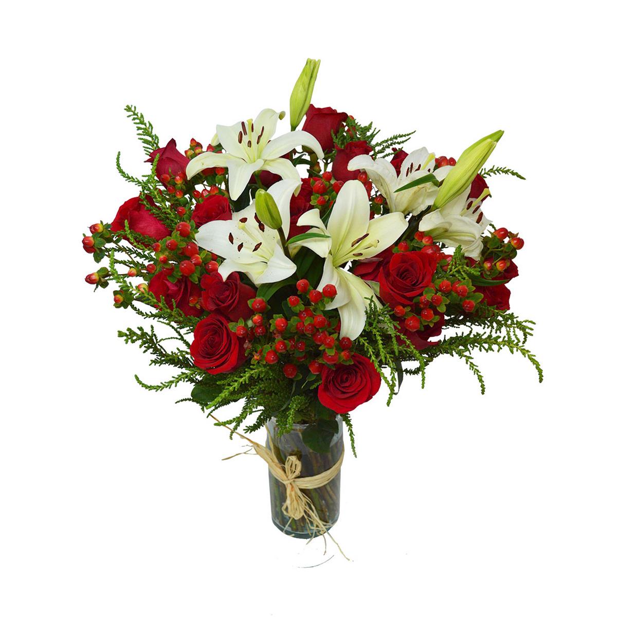Floreros Mixto con Lilium, Hypericum y Rosas