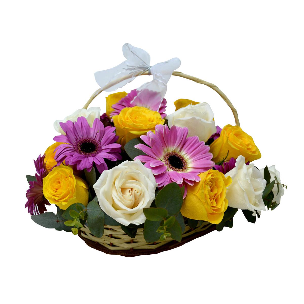 Canastillos con Gerberas, Rosas Blancas y Amarillas