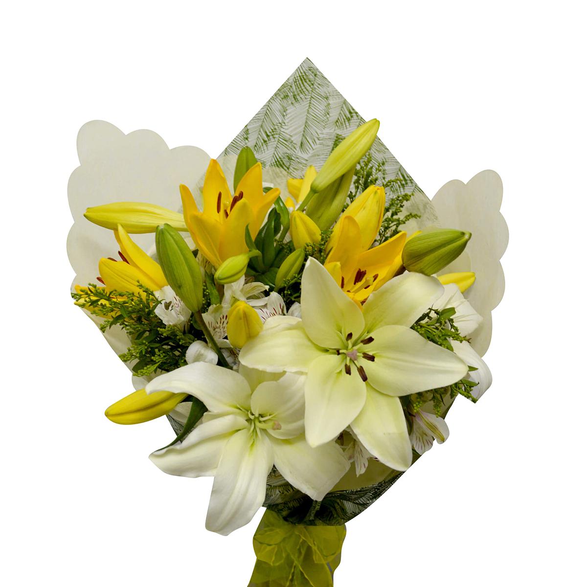 Ramo de flores Mixto con Lilium, Alstromerias y Solidago