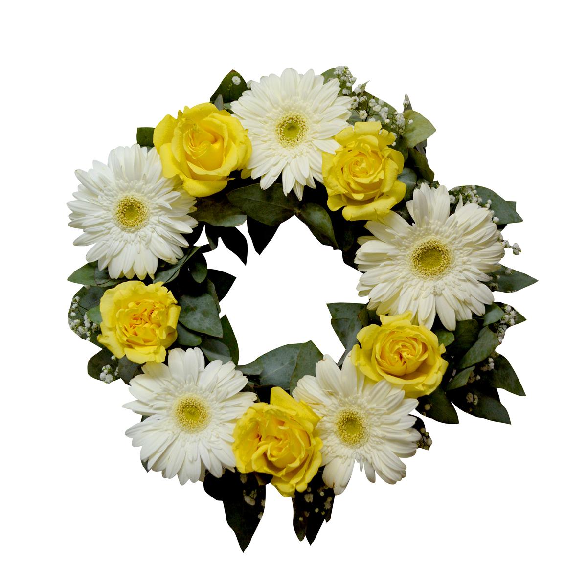 Corona con Rosas Amarillas y Gerberas