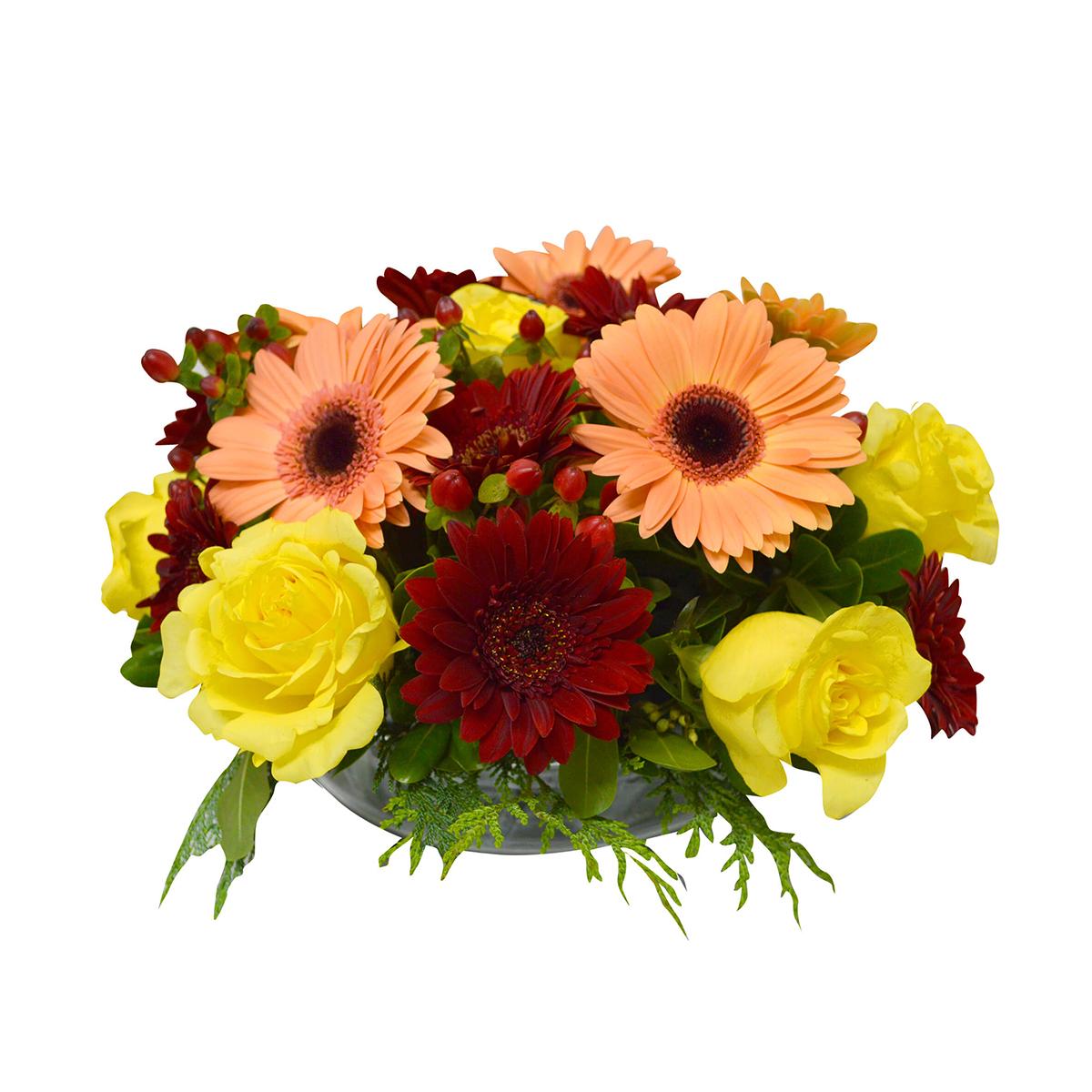 Centro de Mesa con Gerbera, Mini Gerberas y Rosas Amarillas