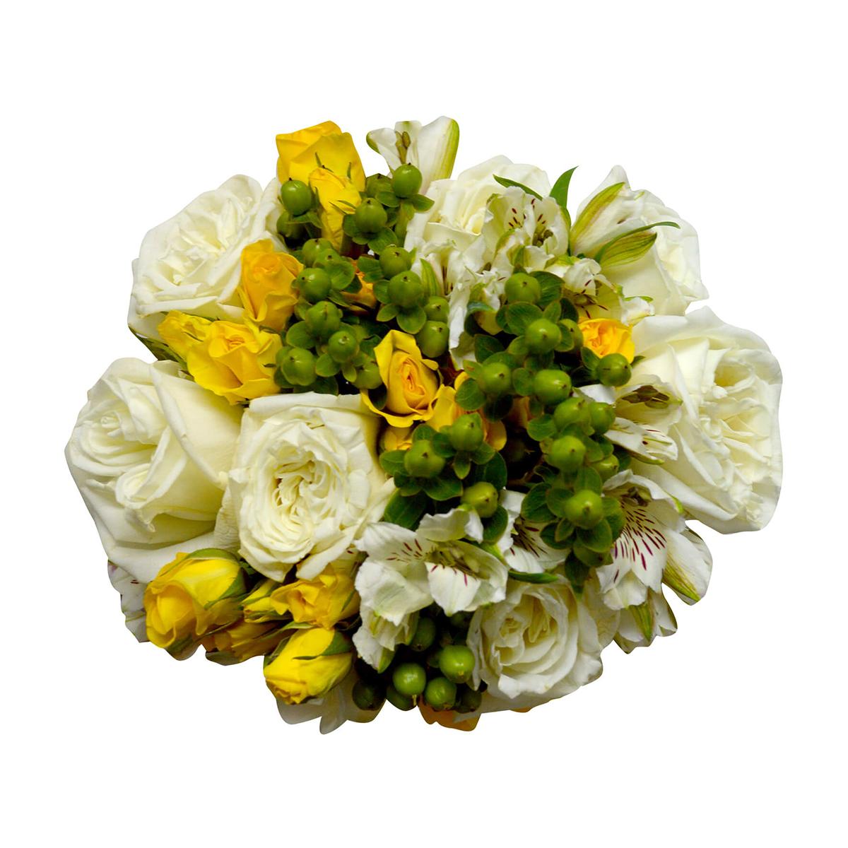 Ramo de novia con Rosas, Mini Rosas y Alstromerias