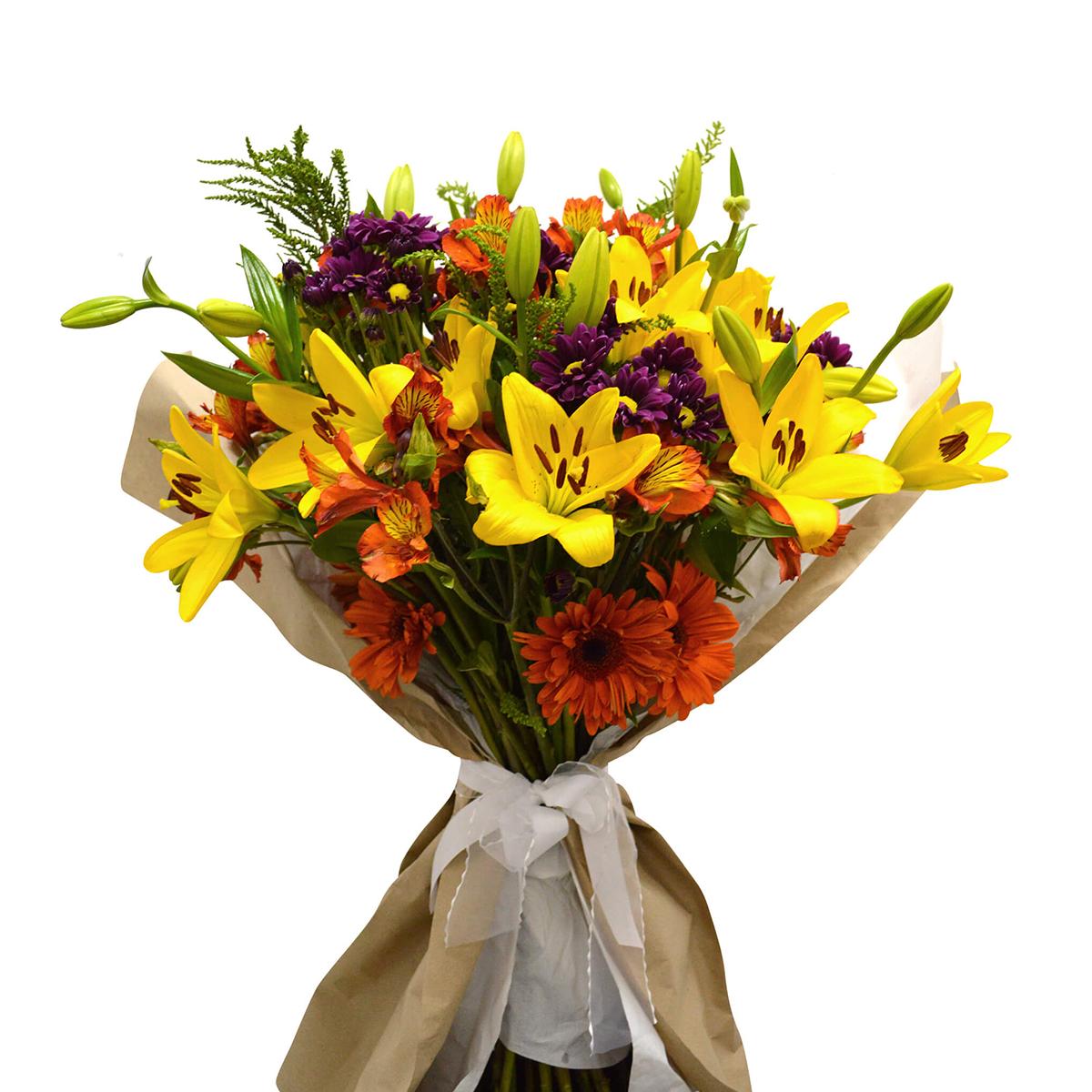 Ramo de flores Mixto con Gerberas, Lilium y Alstromerias