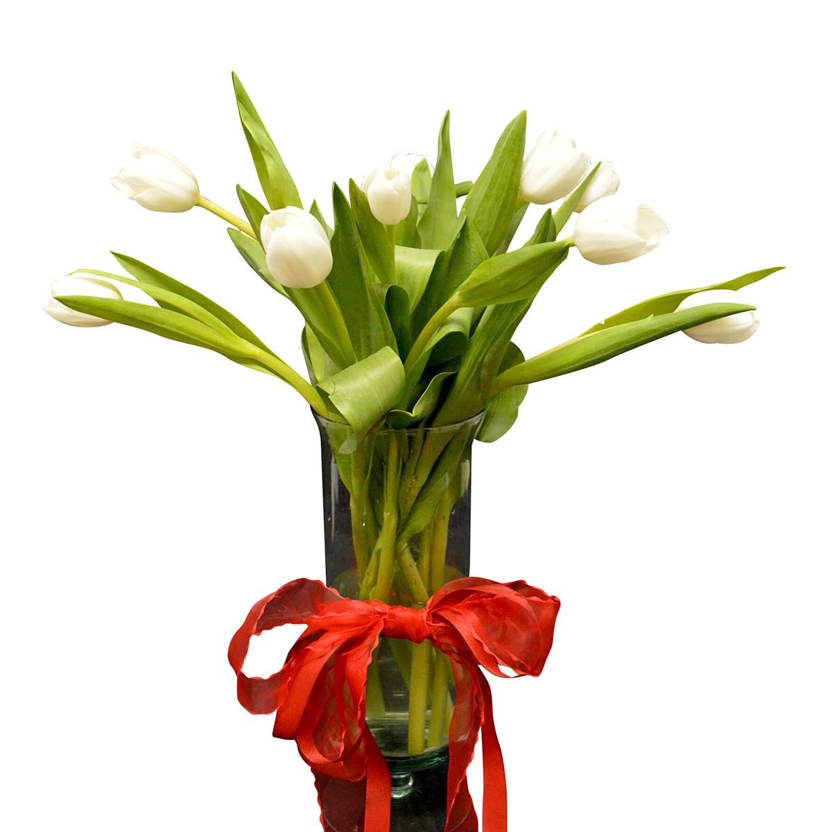 Florero con 20 Tulipanes Blanco
