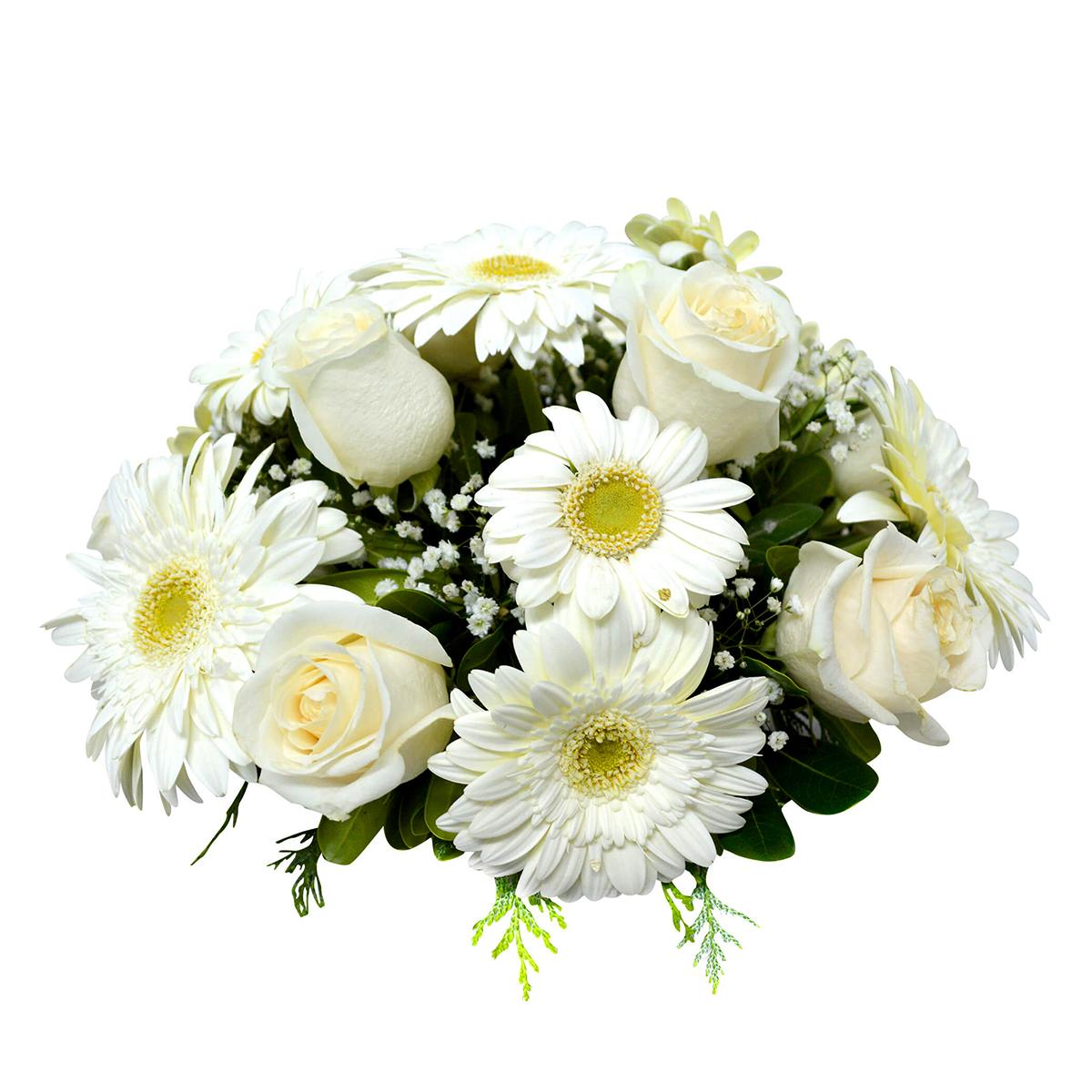Canasto con Gerberas, Mini Gerberas Blancas y Rosas Blancas