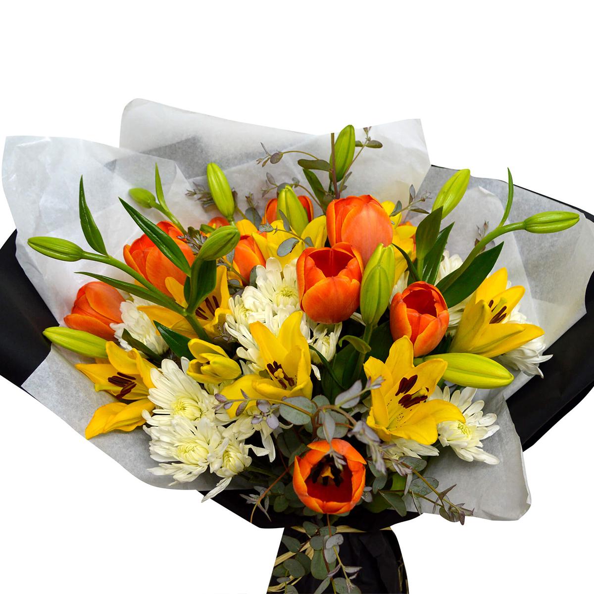 Ramo de flores Mixto con Lilium, Tulipanes y Mables
