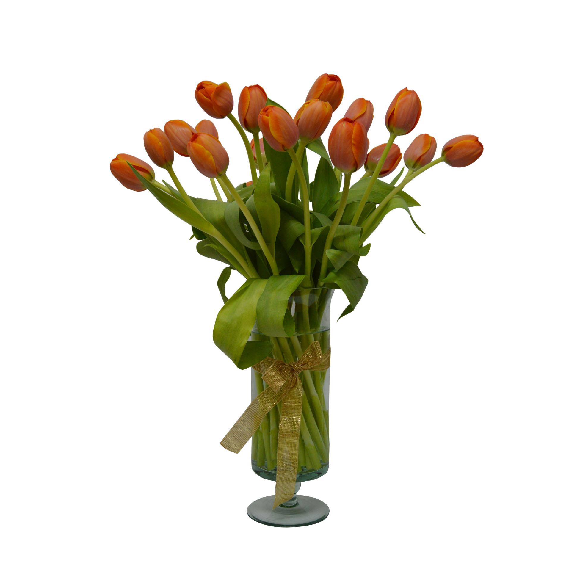 Florero con 20 Tulipanes Naranjo