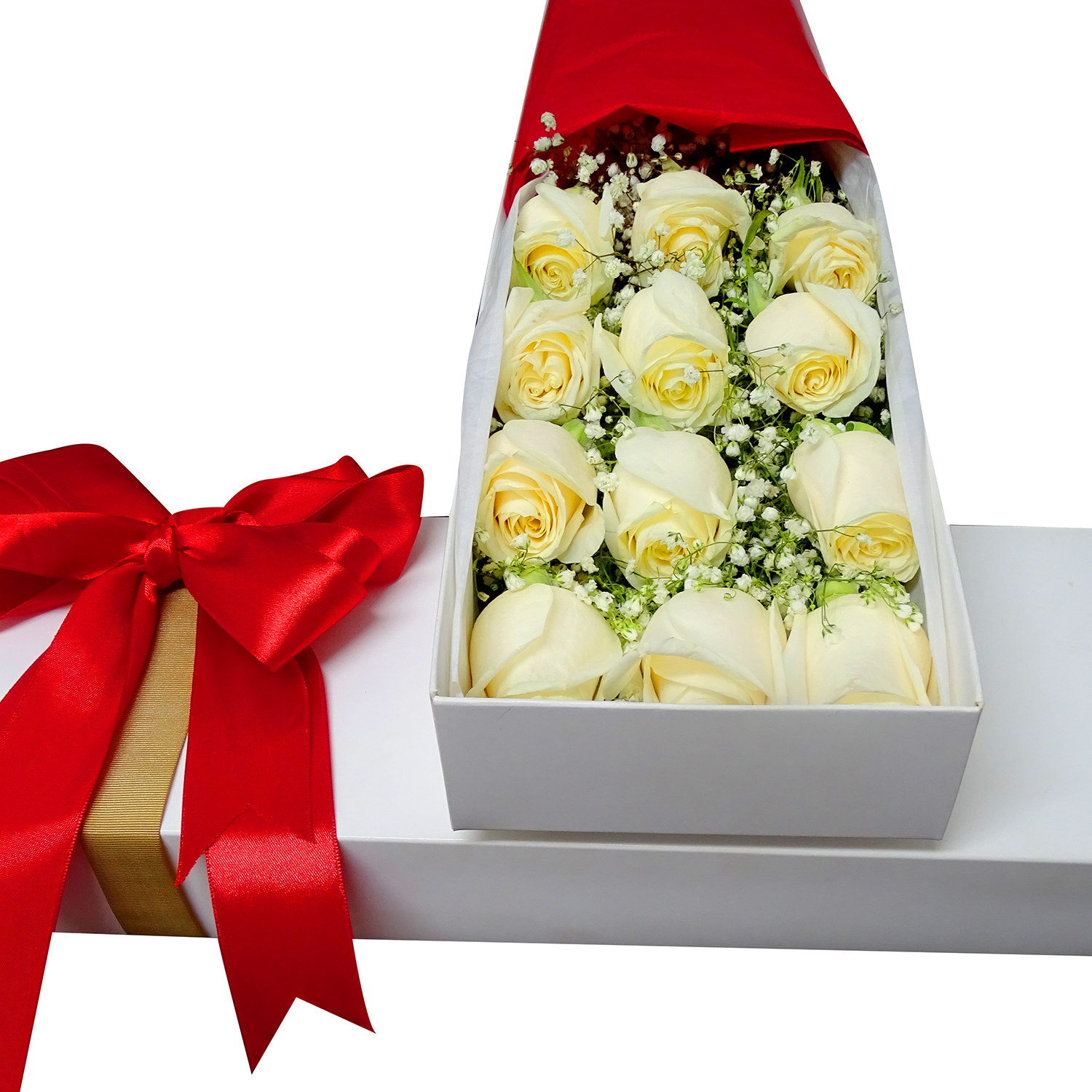 Caja con 12 bellas Rosas de color Blanco