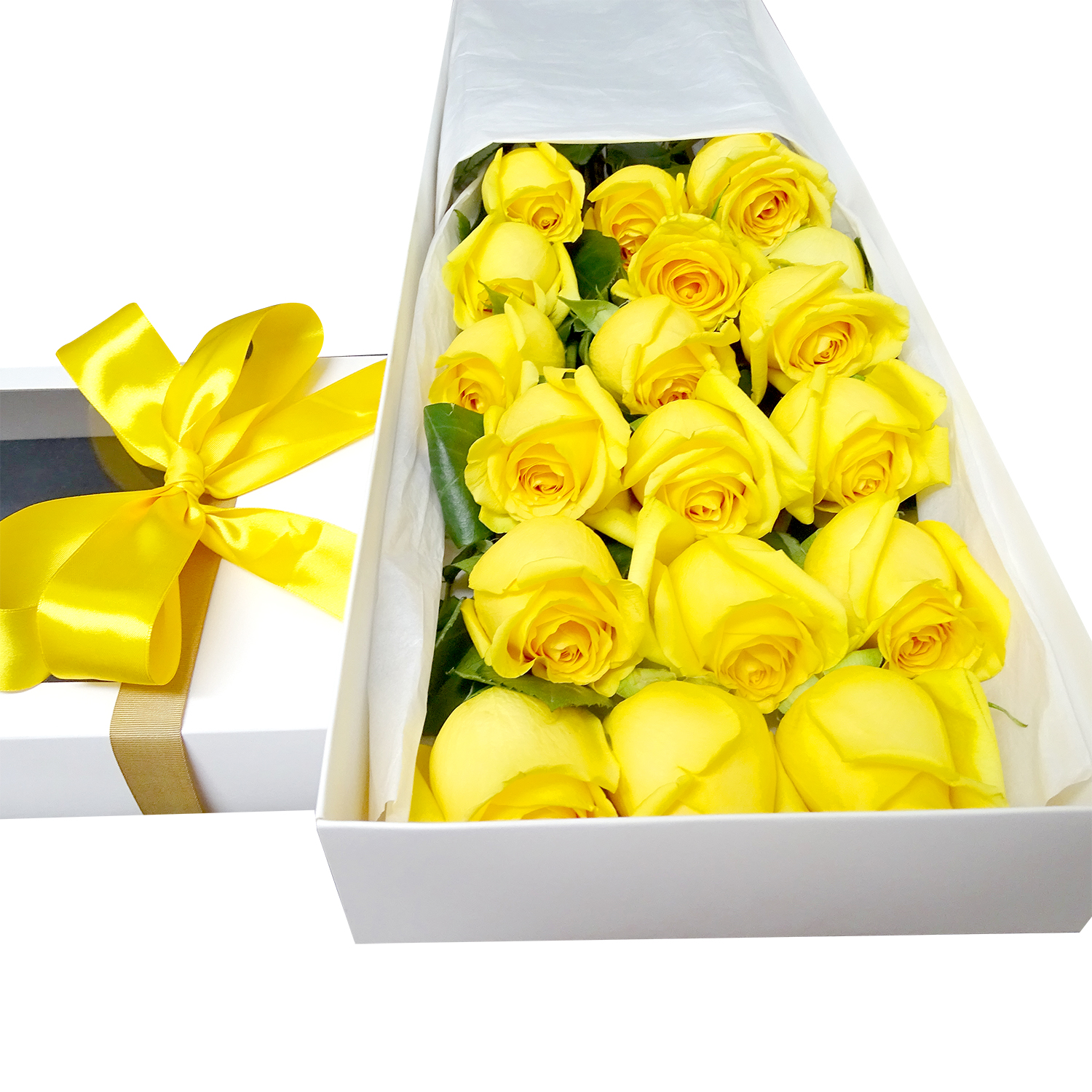 Caja de 18 bellas Rosas de color Amarillo