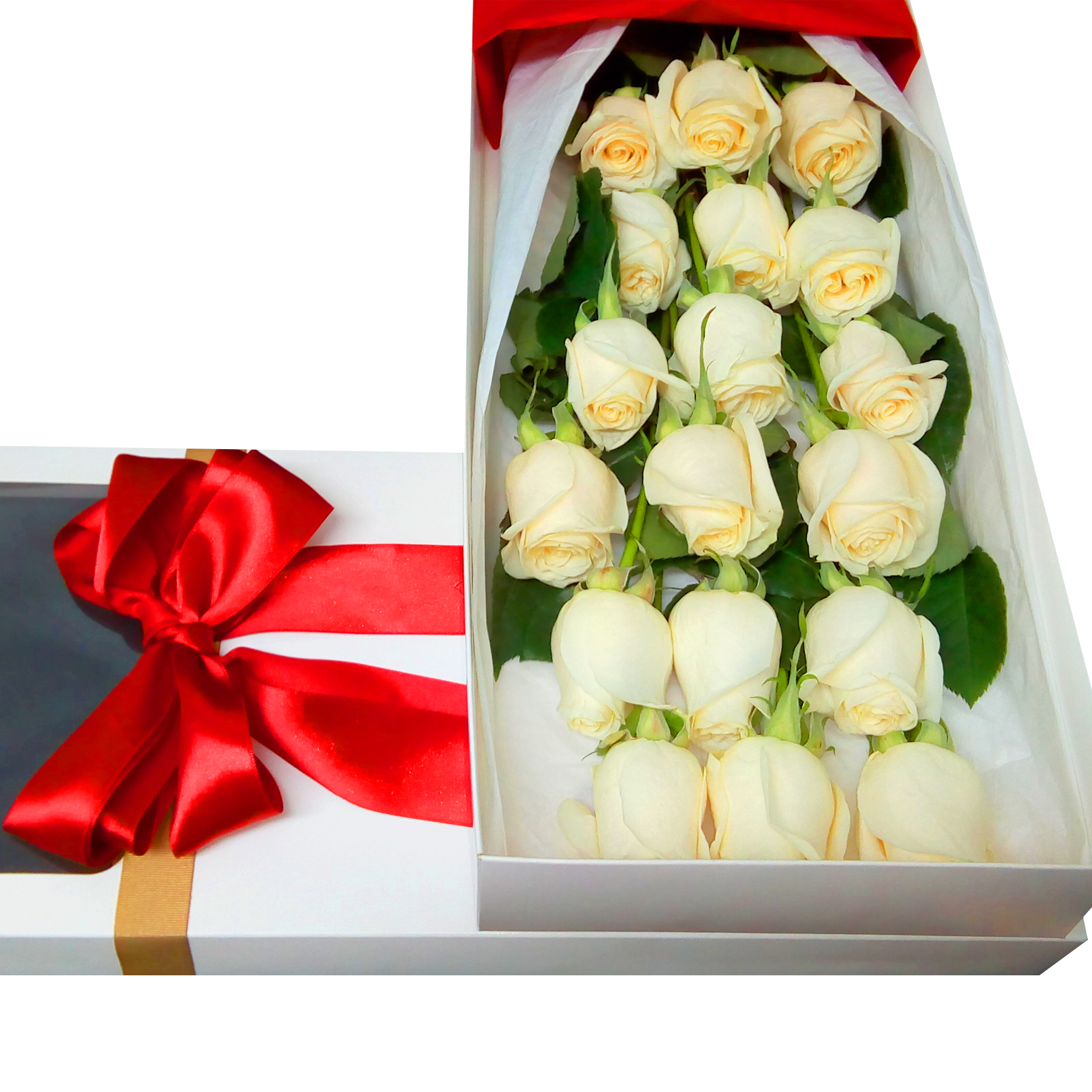 Caja de 18 bellas Rosas de color Blanco