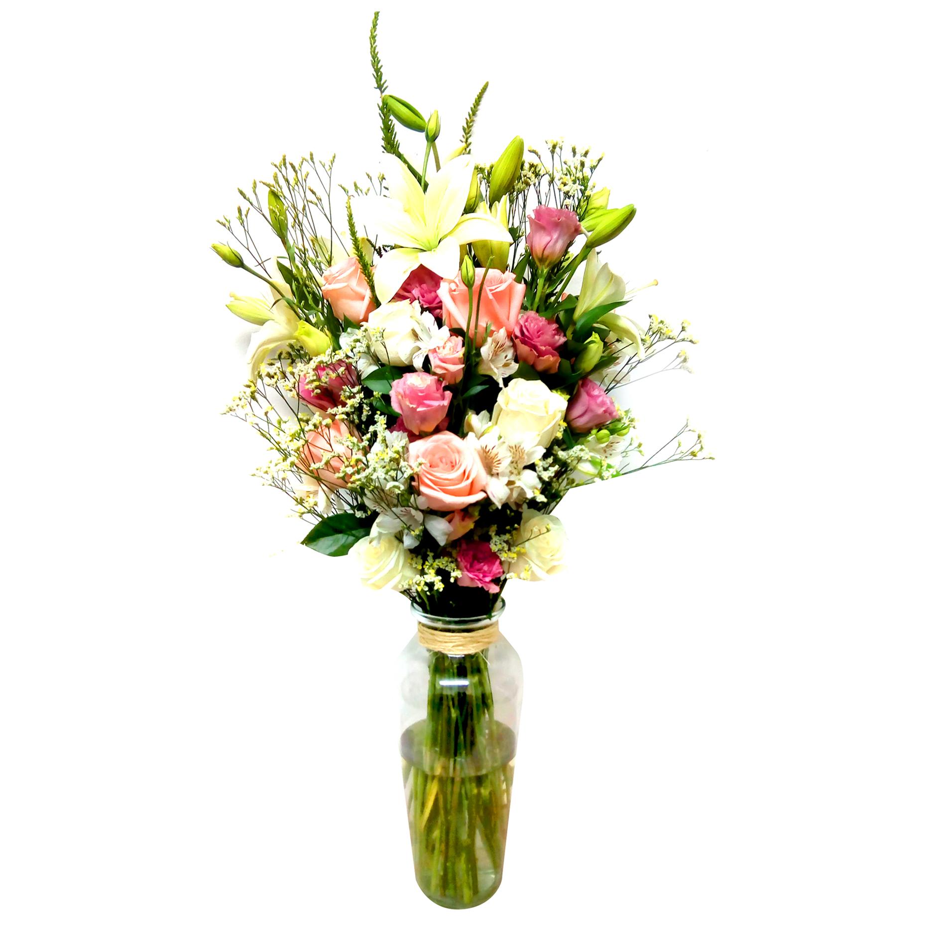 Florero Mixto con Rosas, Mini Rosas, Gerberas y Lilium