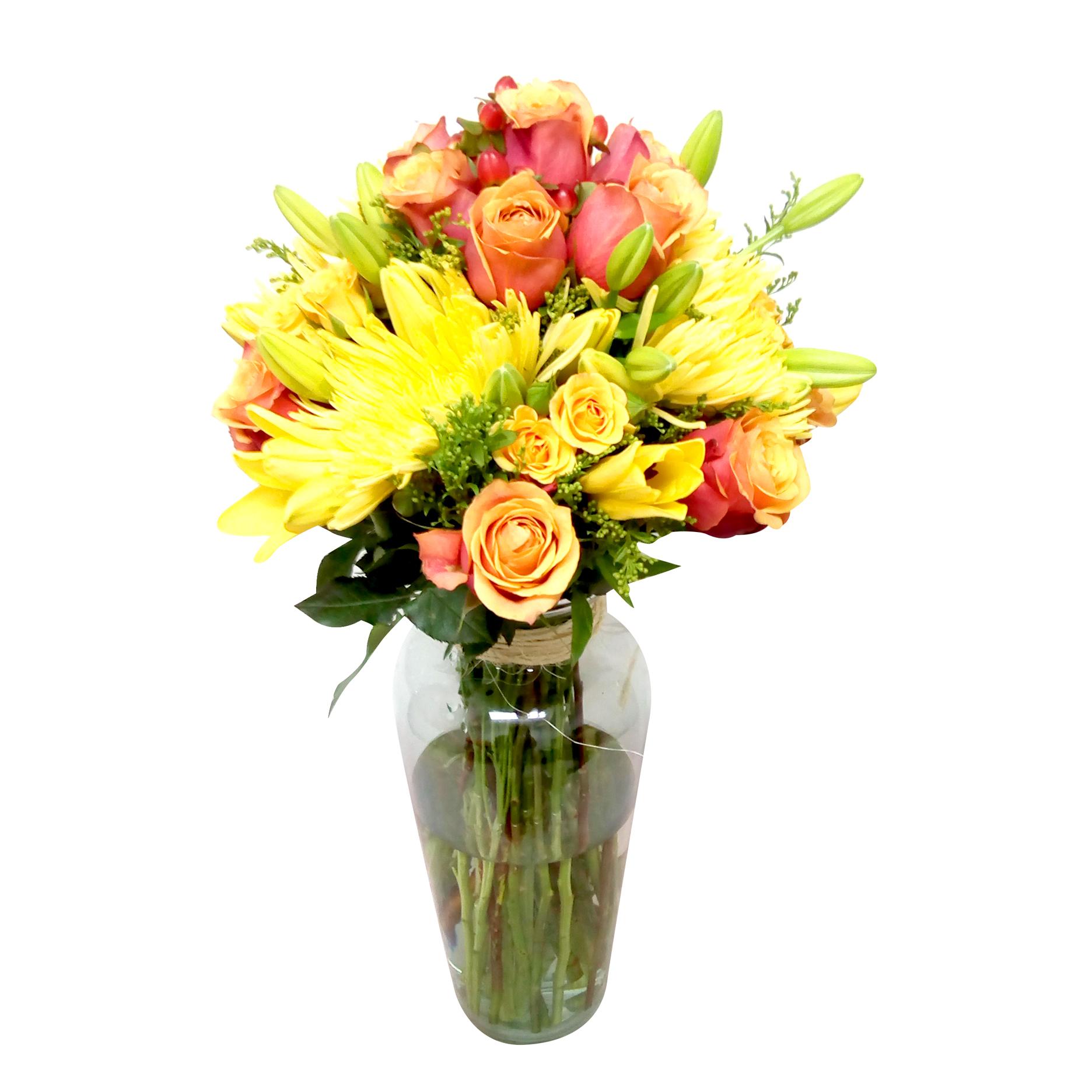 Florero Mixto con Rosas, Mini Rosas, Lilium y Spider