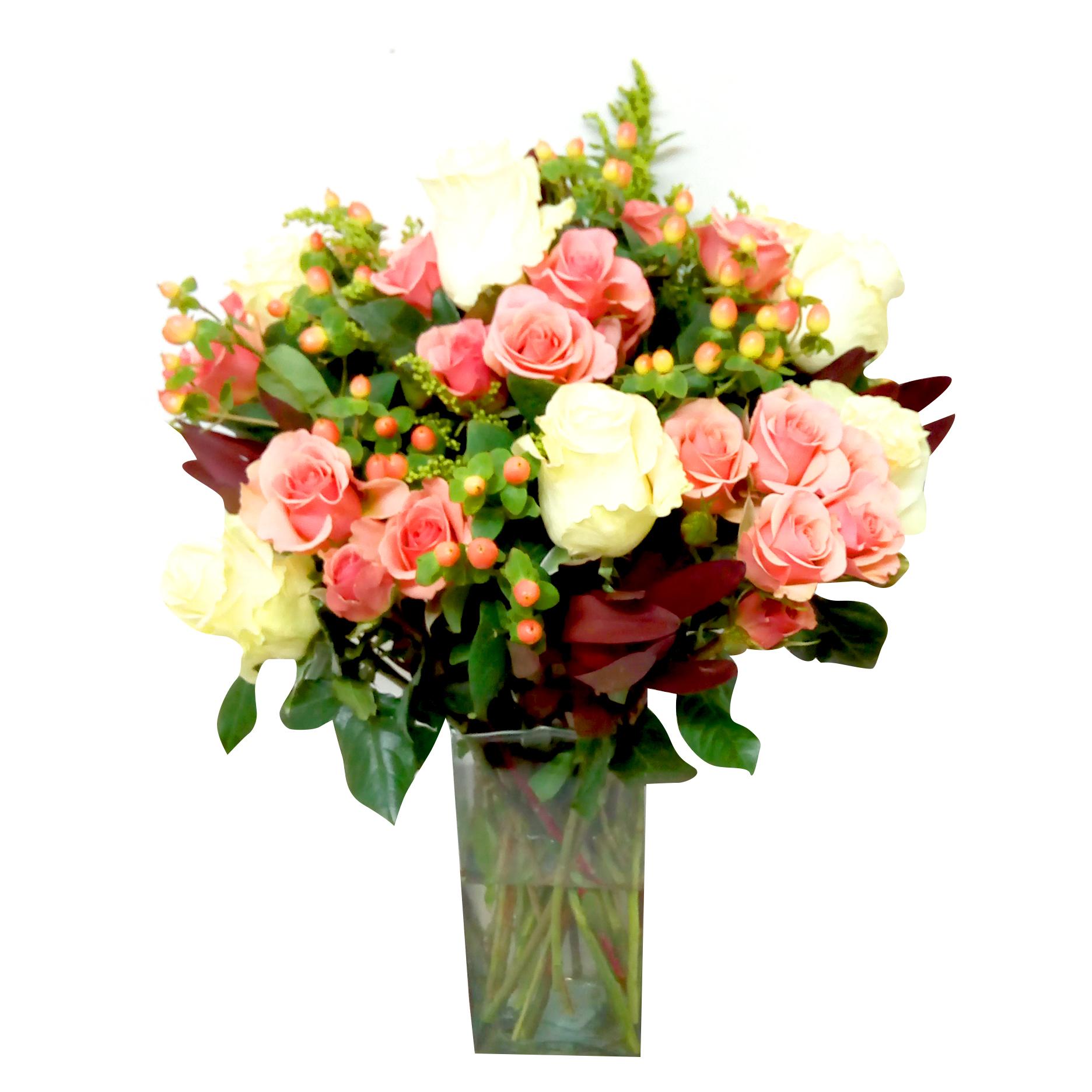 Florero Mixto con Rosas, Mini Rosas, Hypericum y Proteas