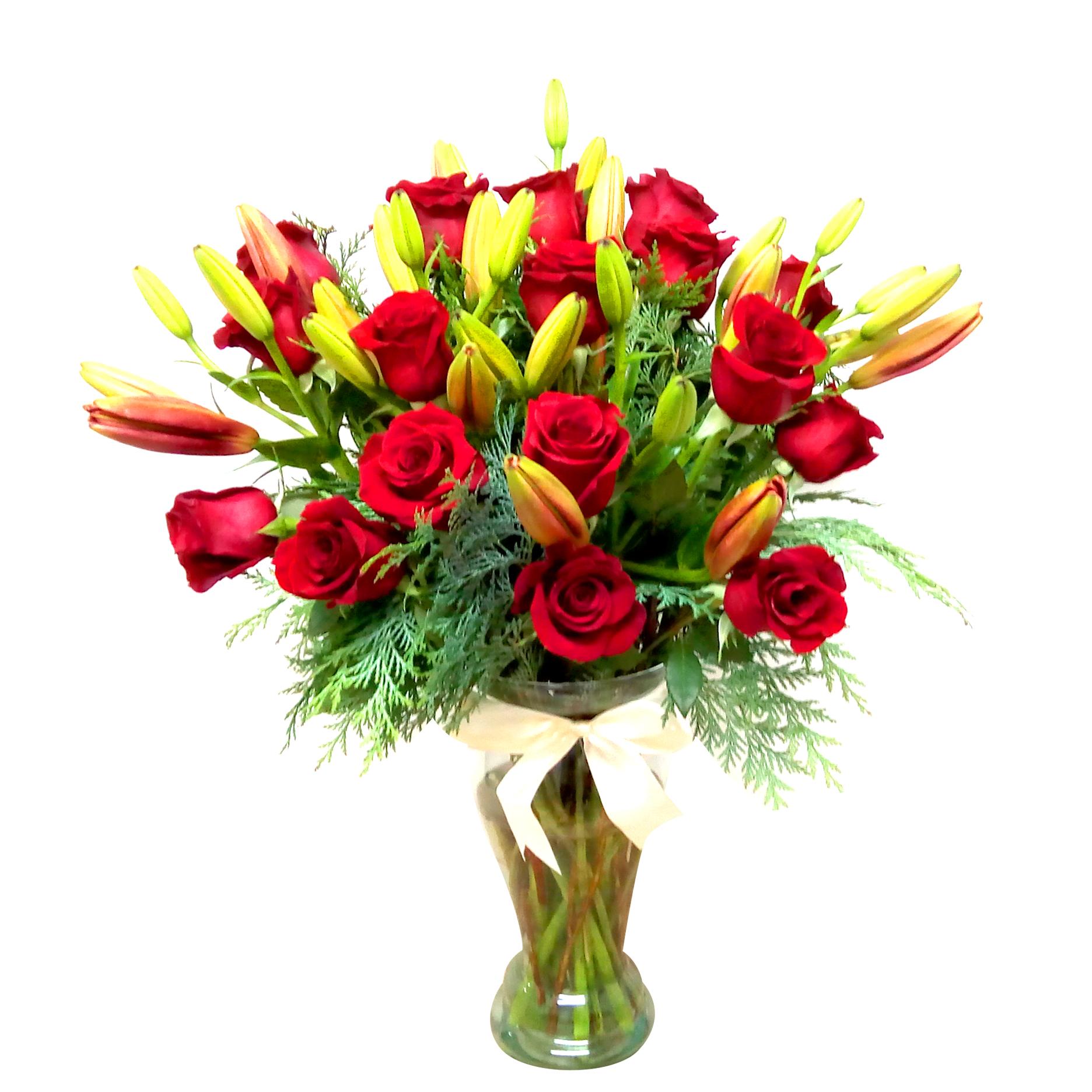 Florero con Rosas Rojas mas Lilium
