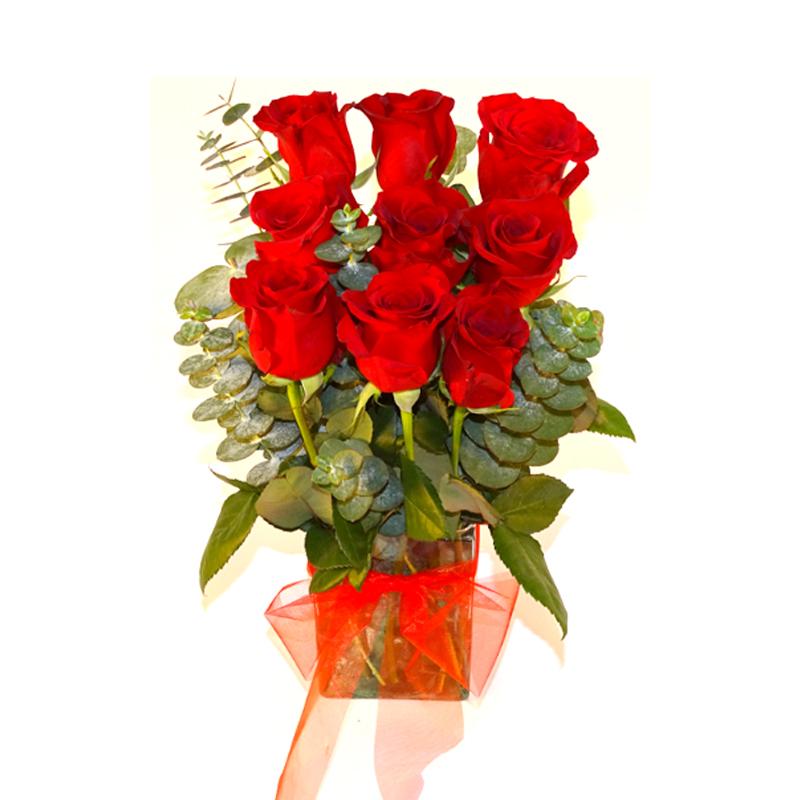 Florero con Rosas Rojas mas Eucaliptus
