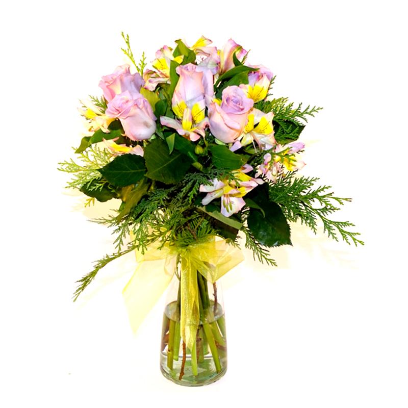 Floreros Mixto con Rosas y Alstromerias