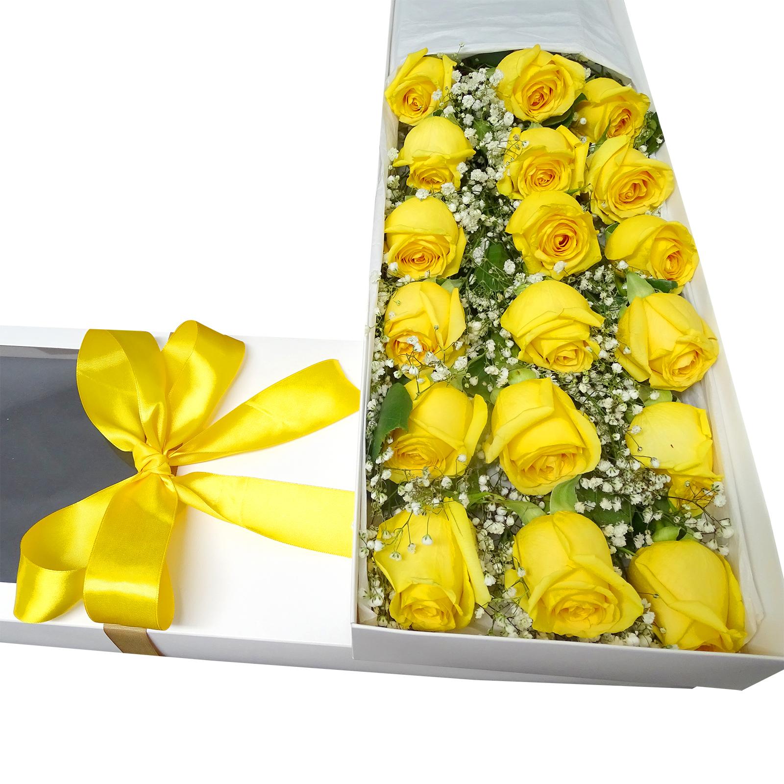 Caja de 18 Rosas de color Amarillo mas Gypsophilia