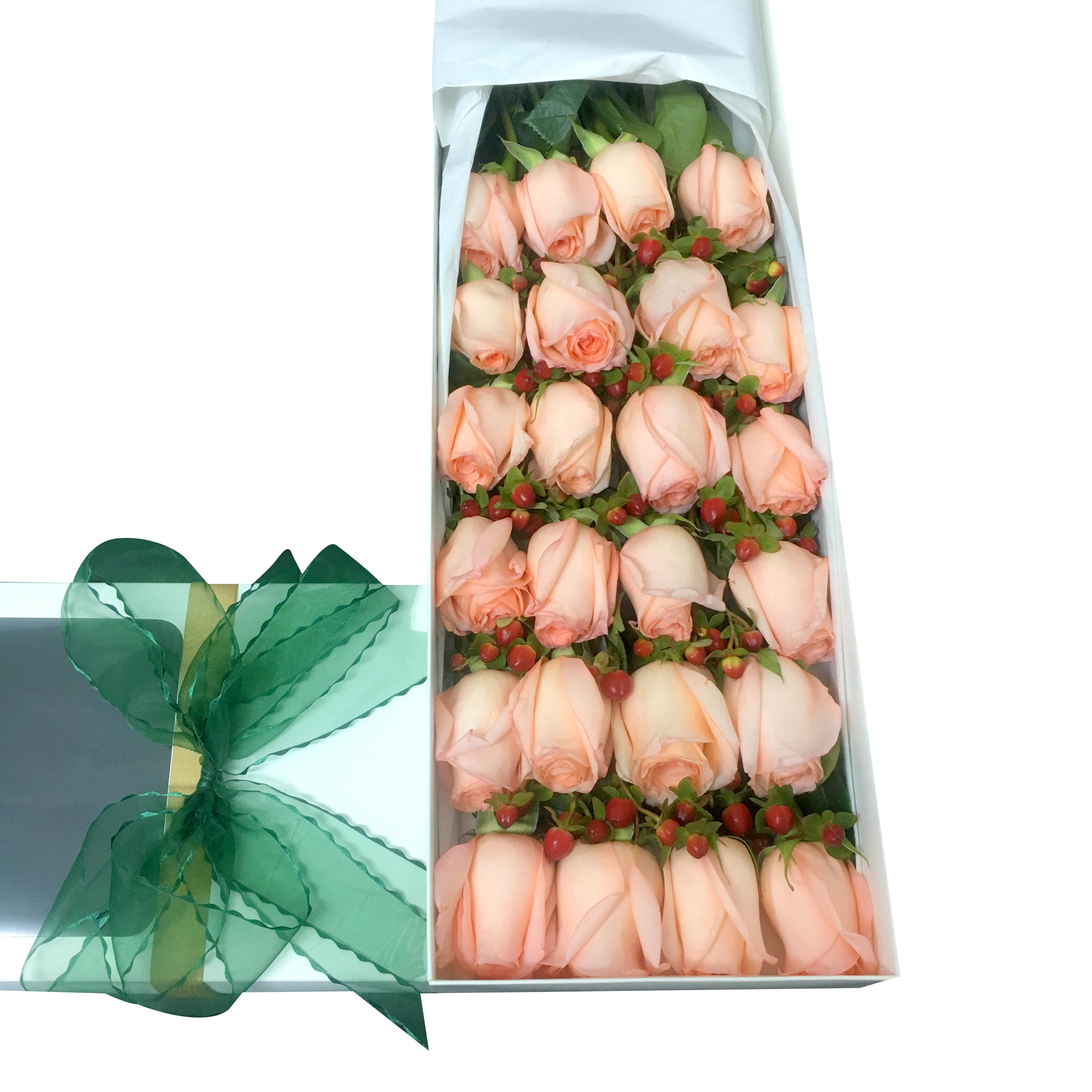 Caja de 24 Rosas de color Rosado mas Hypericum