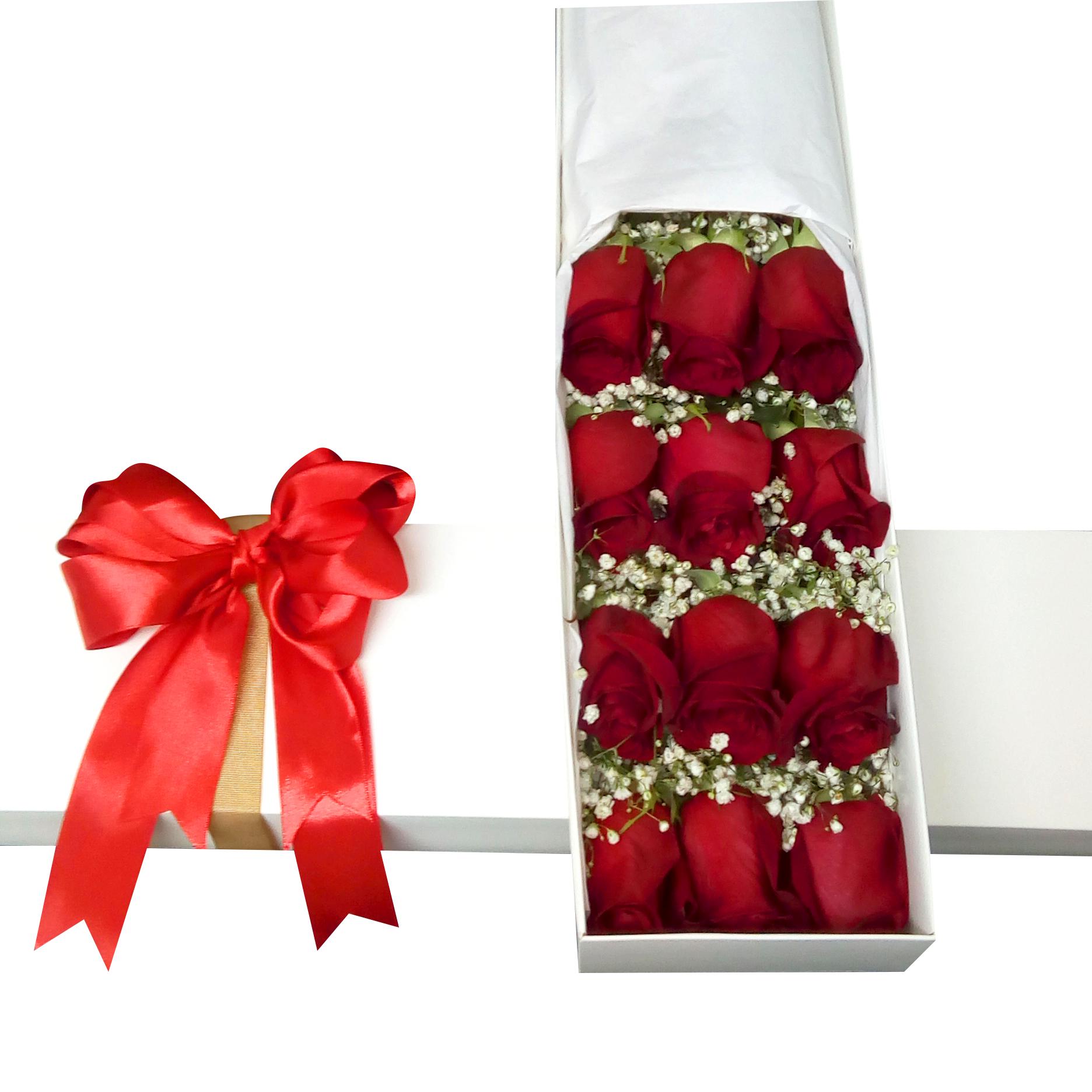 Caja con 12 bellas Rosas Rojas