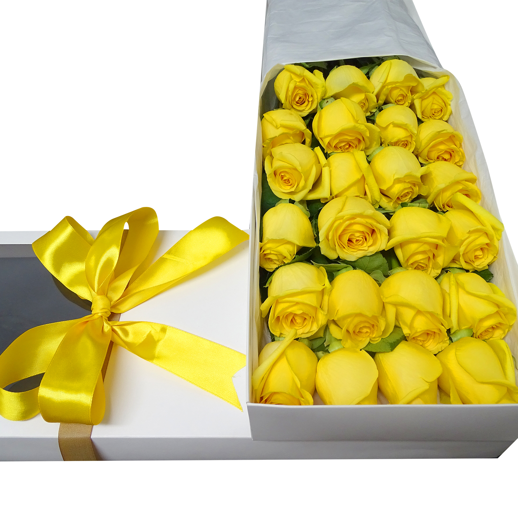 Caja de 24 bellas Rosas de color Amarillo