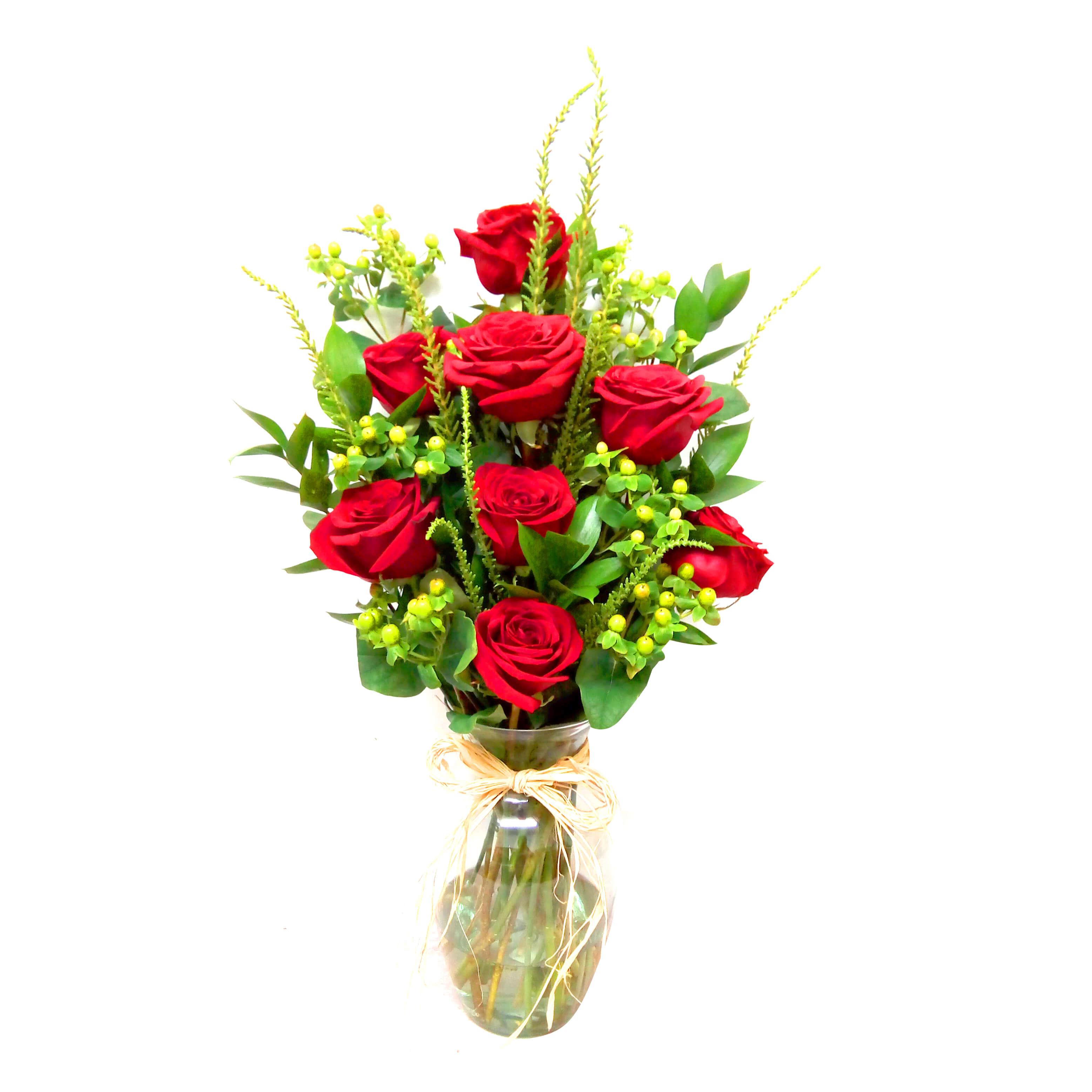 Florero con Rosas Rojas mas Hypericum