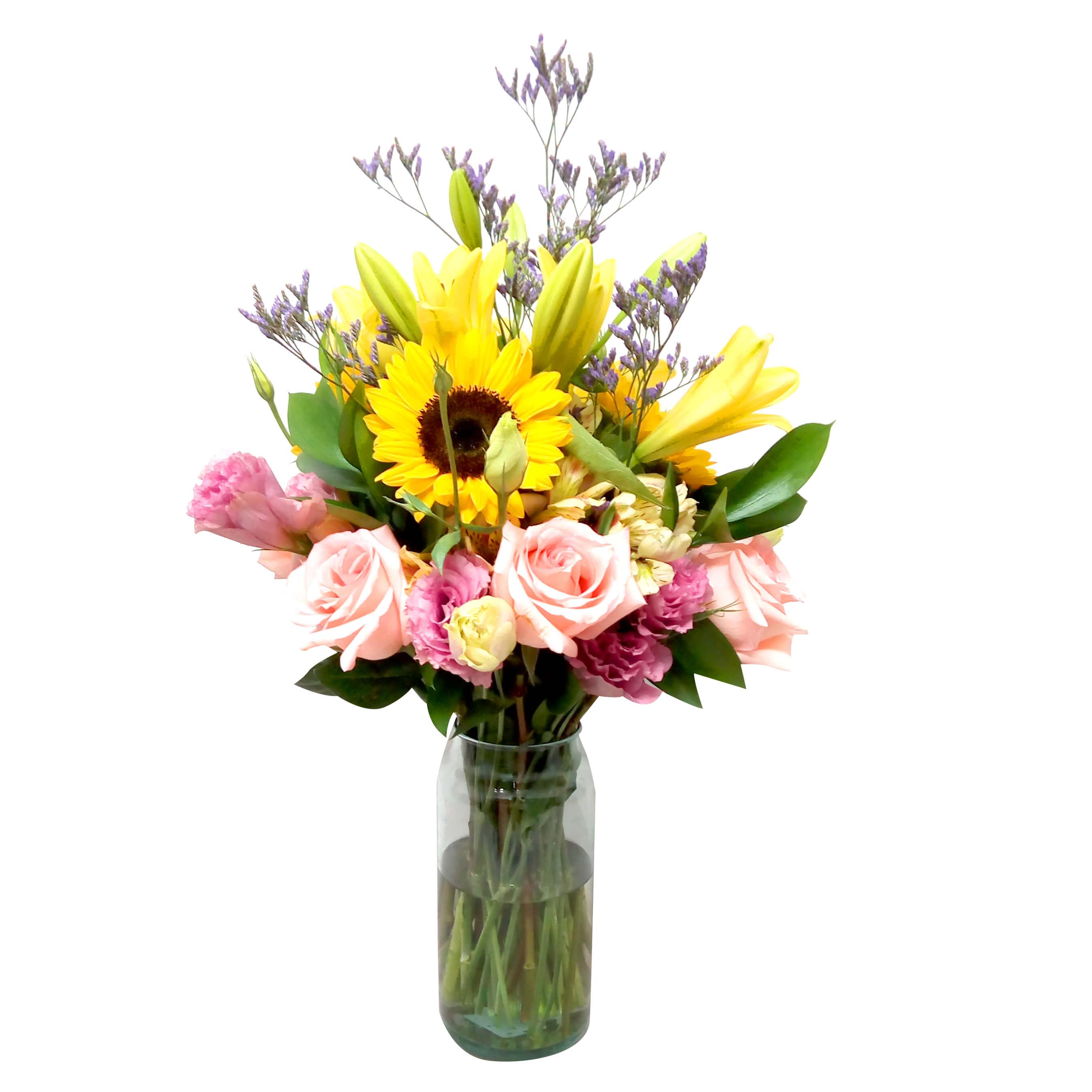 Florero Mixto con Rosas, Lisianthus, Girasoles y Lilium
