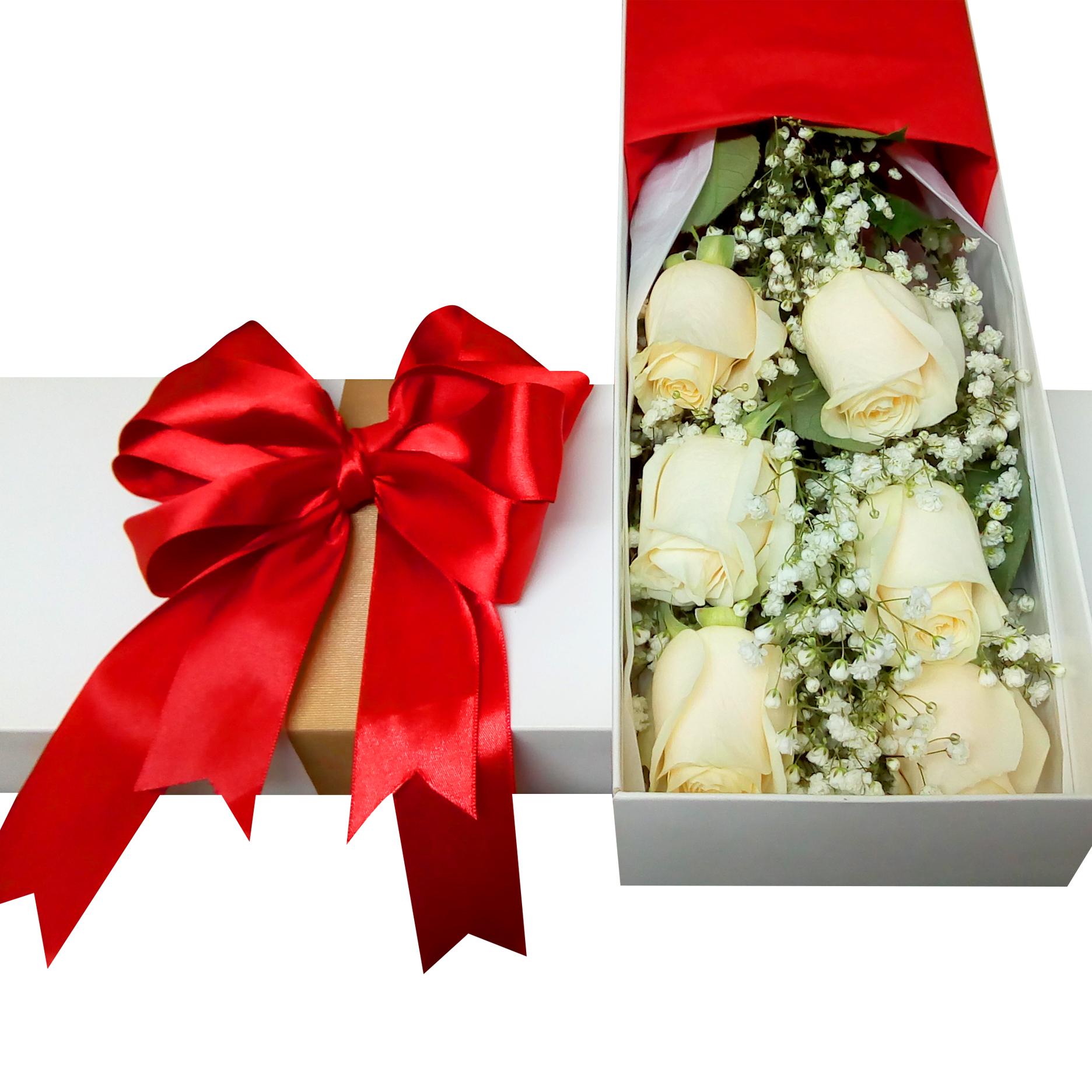 Caja con 6 Rosas de color Blanco mas Gypsophilia