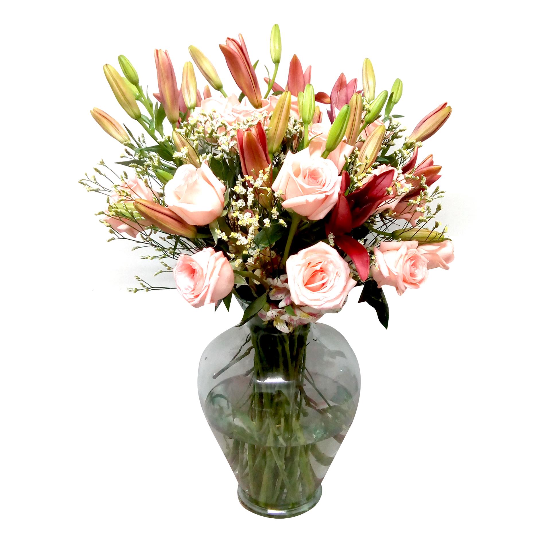 Florero Mixto con Rosas, Lilium y Alstromerias