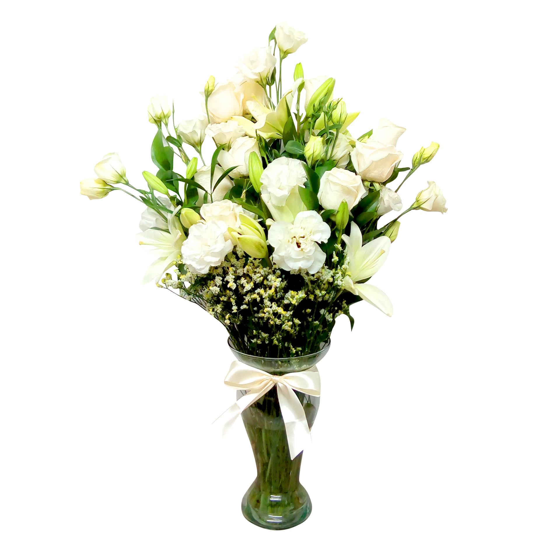 Floreros Mixto con Rosas, Lilium y Lisianthus