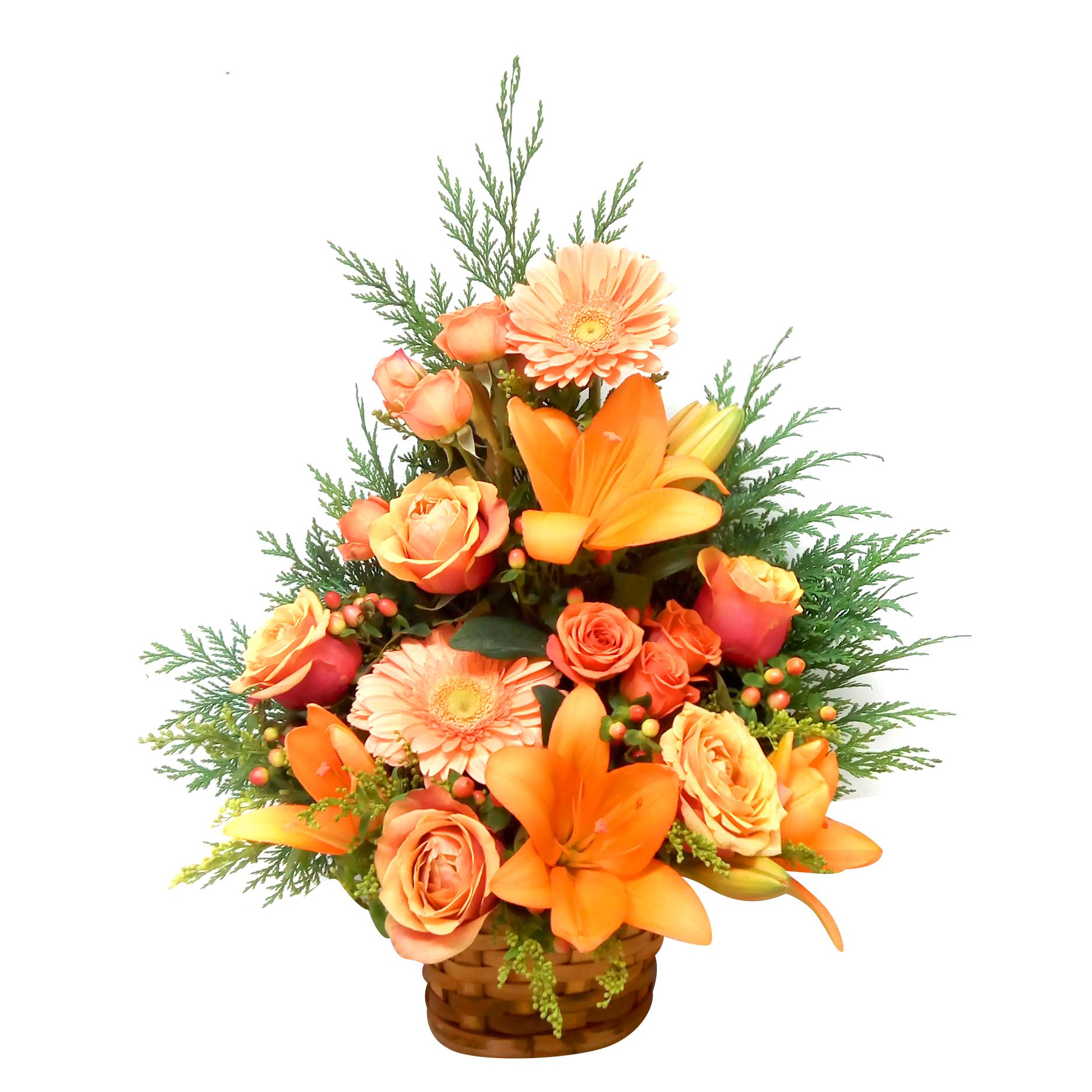 Canastillos con Gerberas, Lilium, Rosas y Mini Rosas