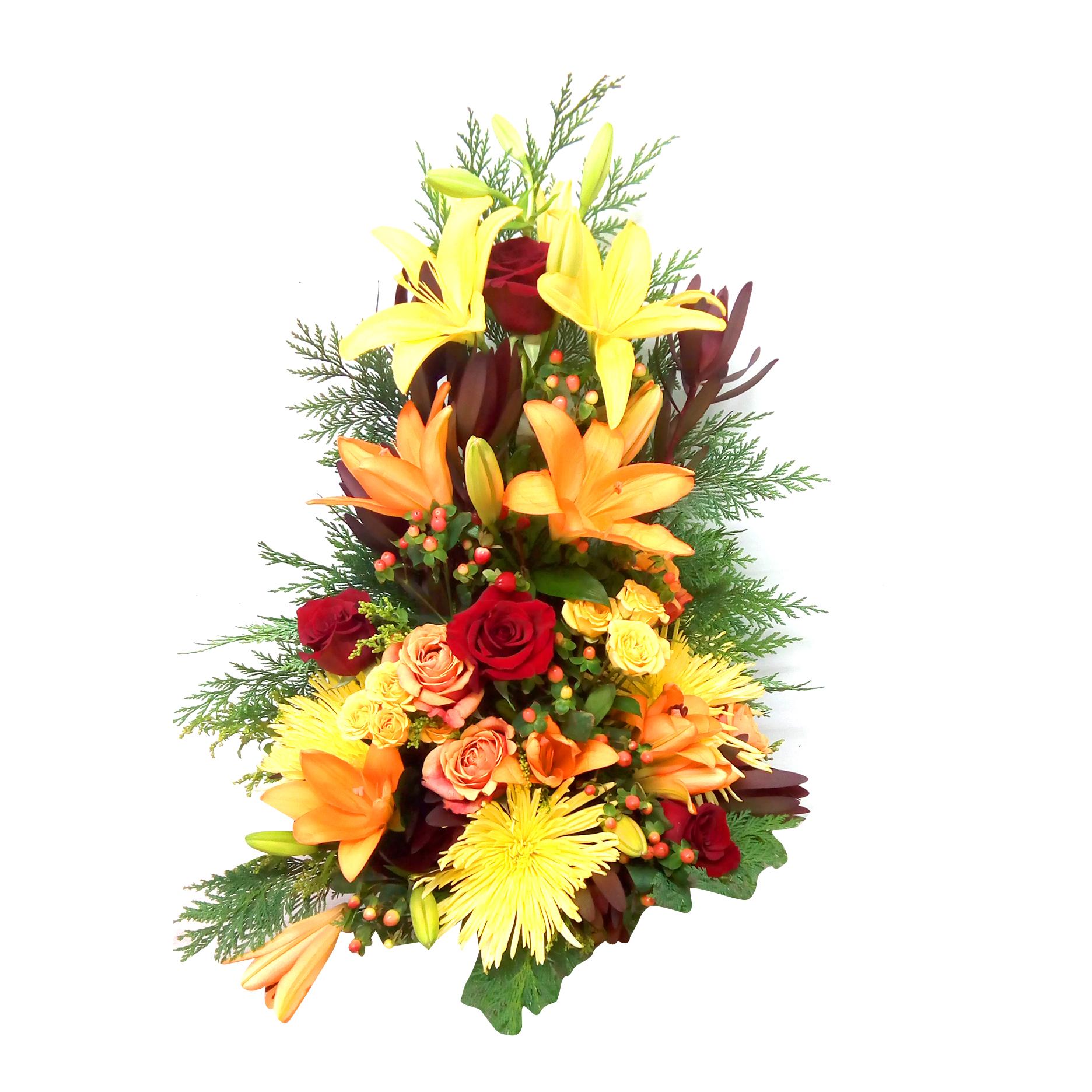 Canastillos con Rosas, Mini Rosas, Crisantemos y Lilium