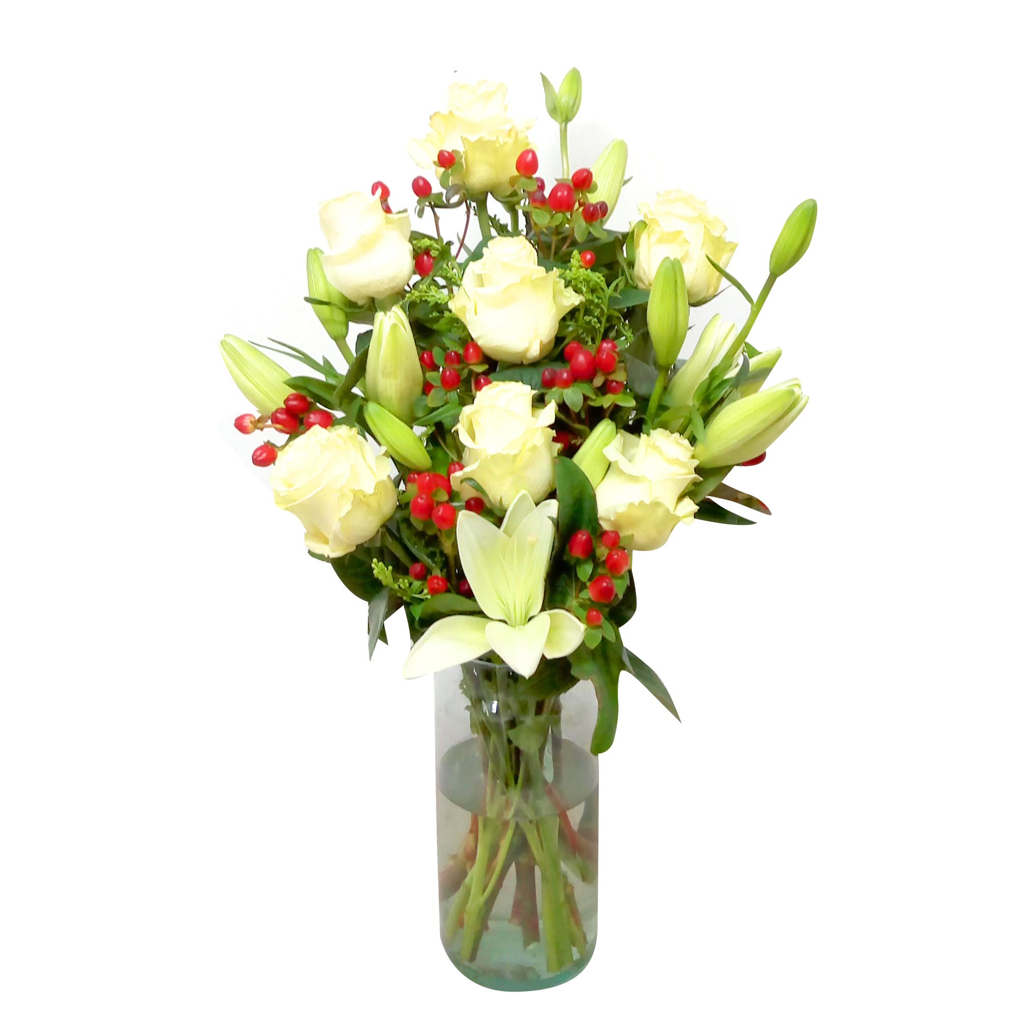 Floreros Mixto con Rosas, Lilium mas Hypericum